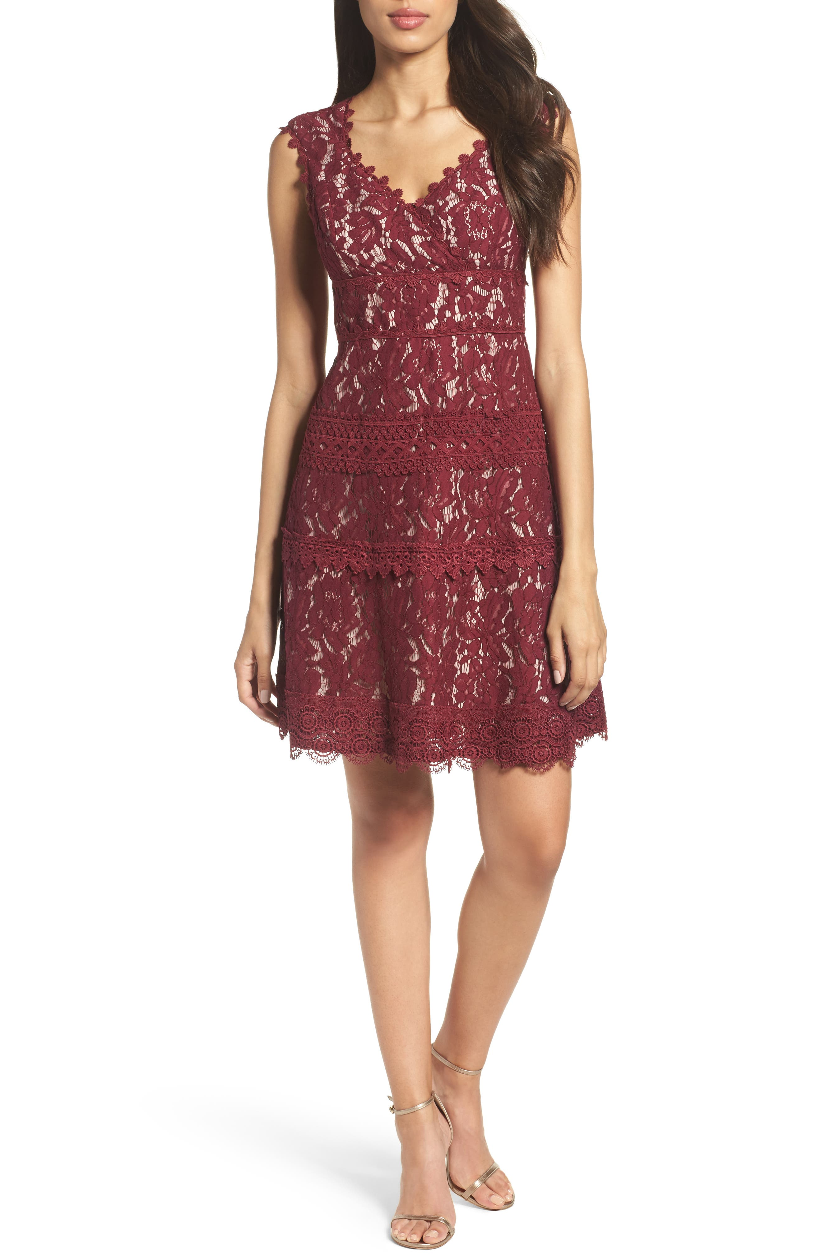 Cynthia Lace Fit & Flare Dress,                         Main,                         color, Black Cherry/ Blush