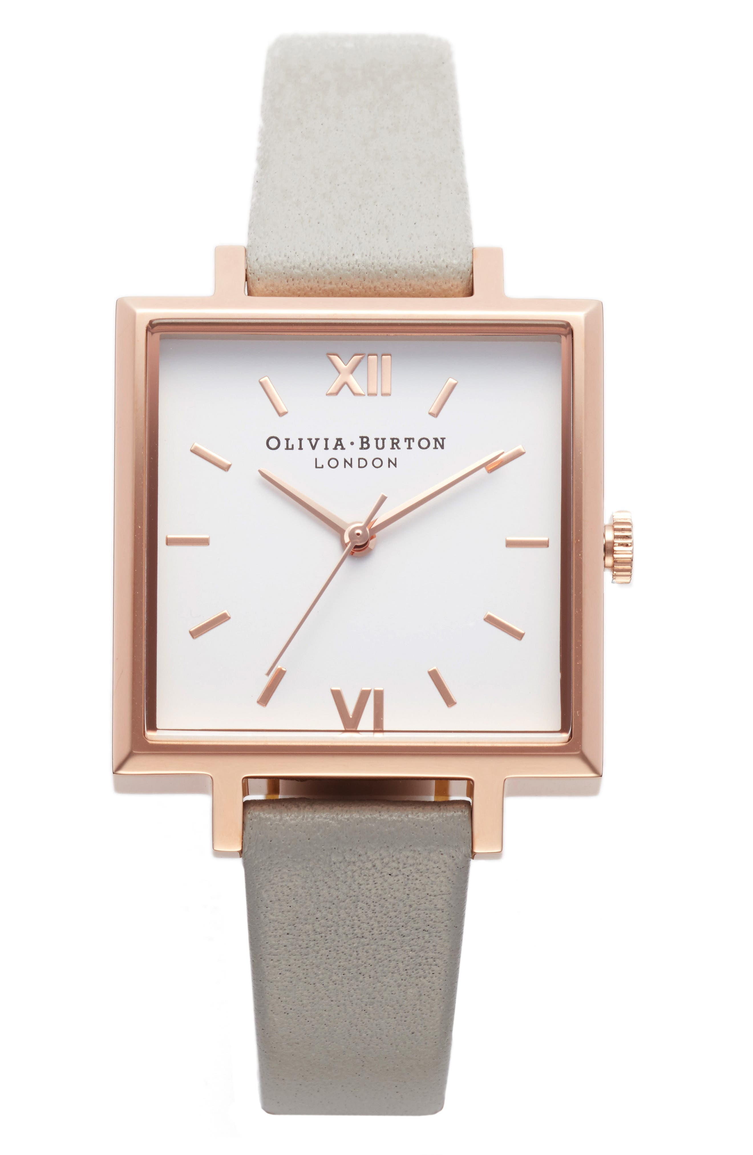 Big Square Leather Strap Watch, 30mm,                             Main thumbnail 1, color,                             Grey/ White/ Rose Gold