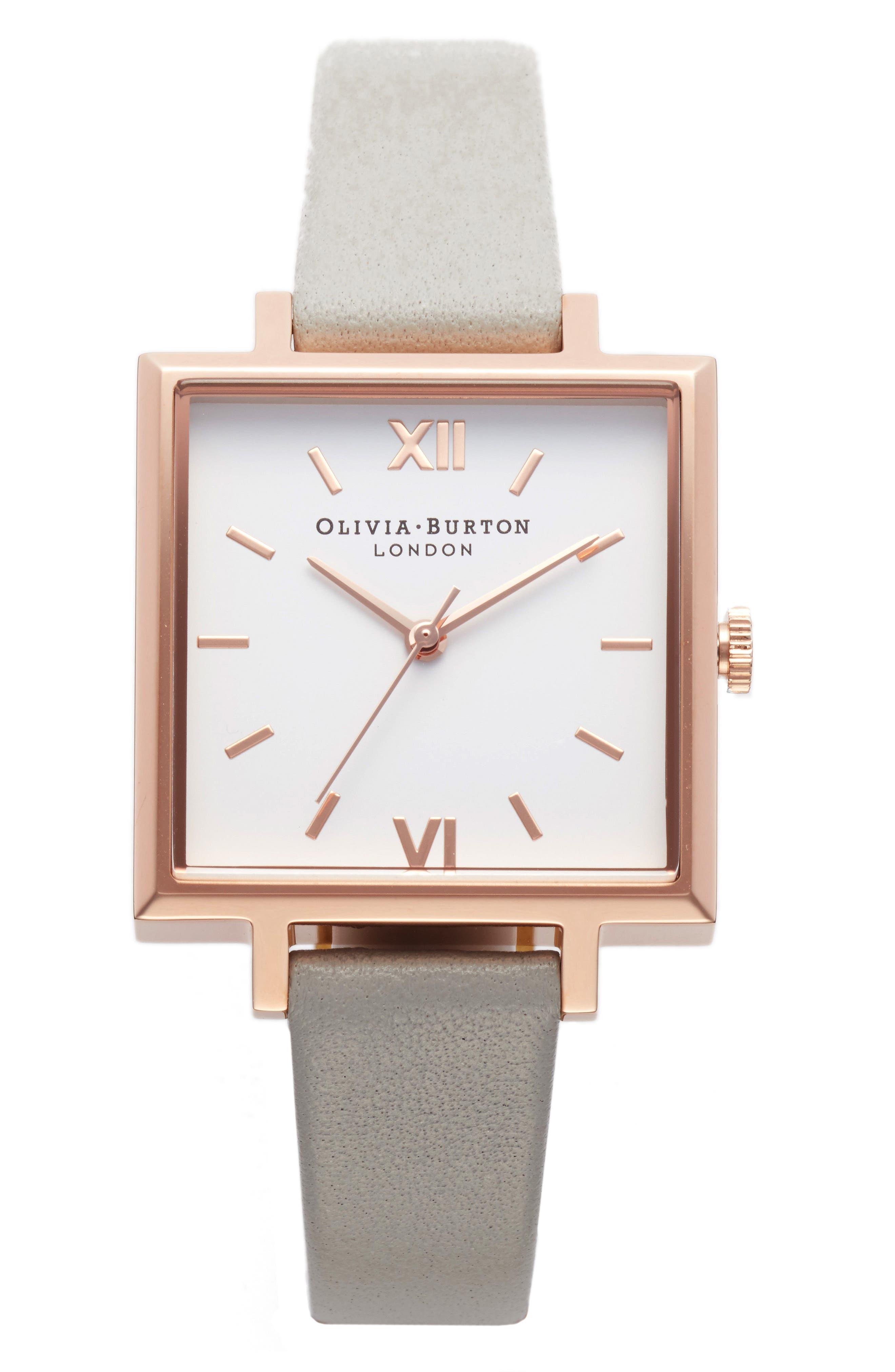 Main Image - Olivia Burton Big Square Leather Strap Watch, 30mm