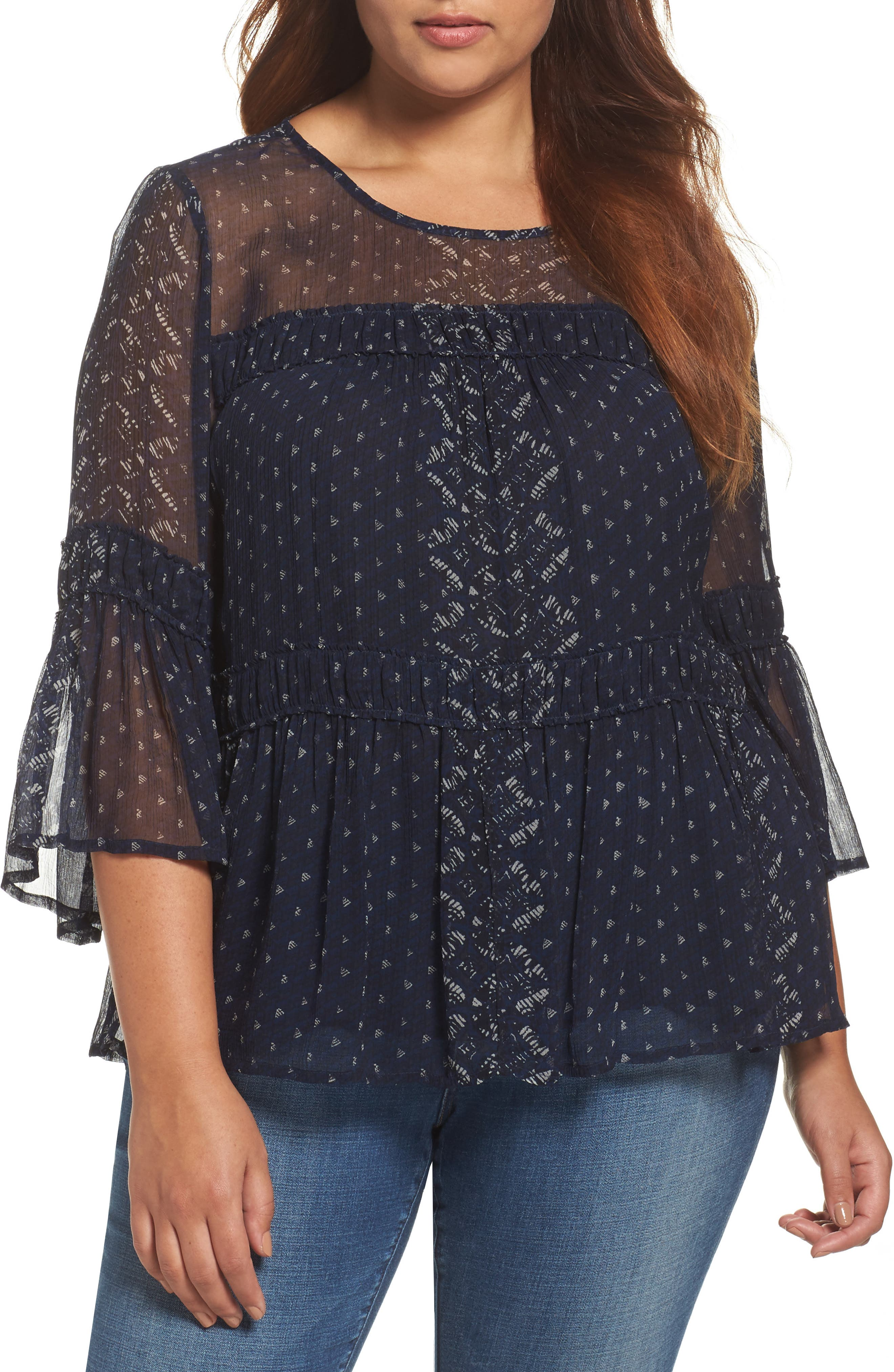 Alternate Image 1 Selected - Lucky Brand Shirred Peasant Top (Plus Size)