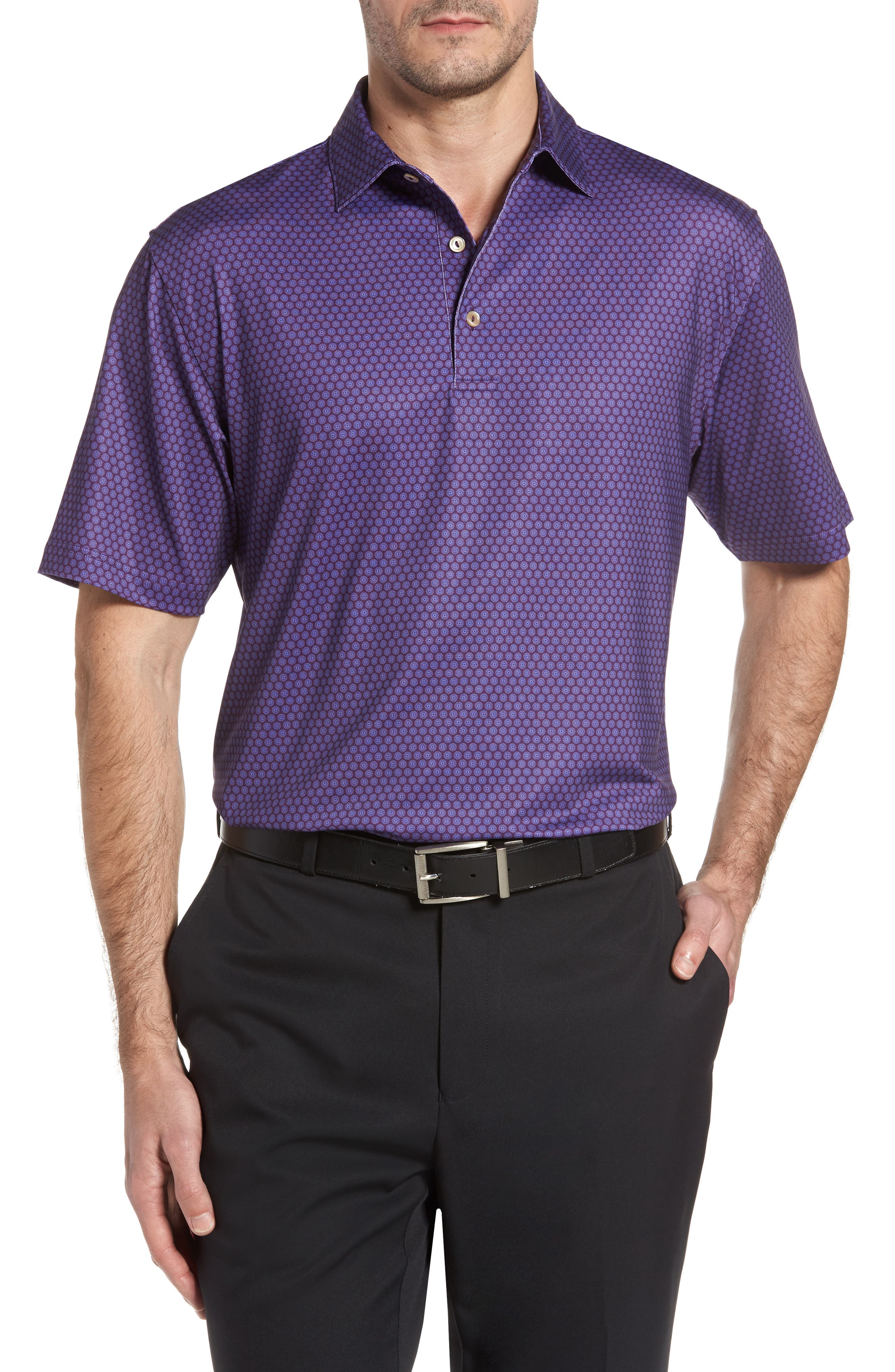 Sean Mata Sunburst Stretch Jersey Polo,                         Main,                         color, Blackberry