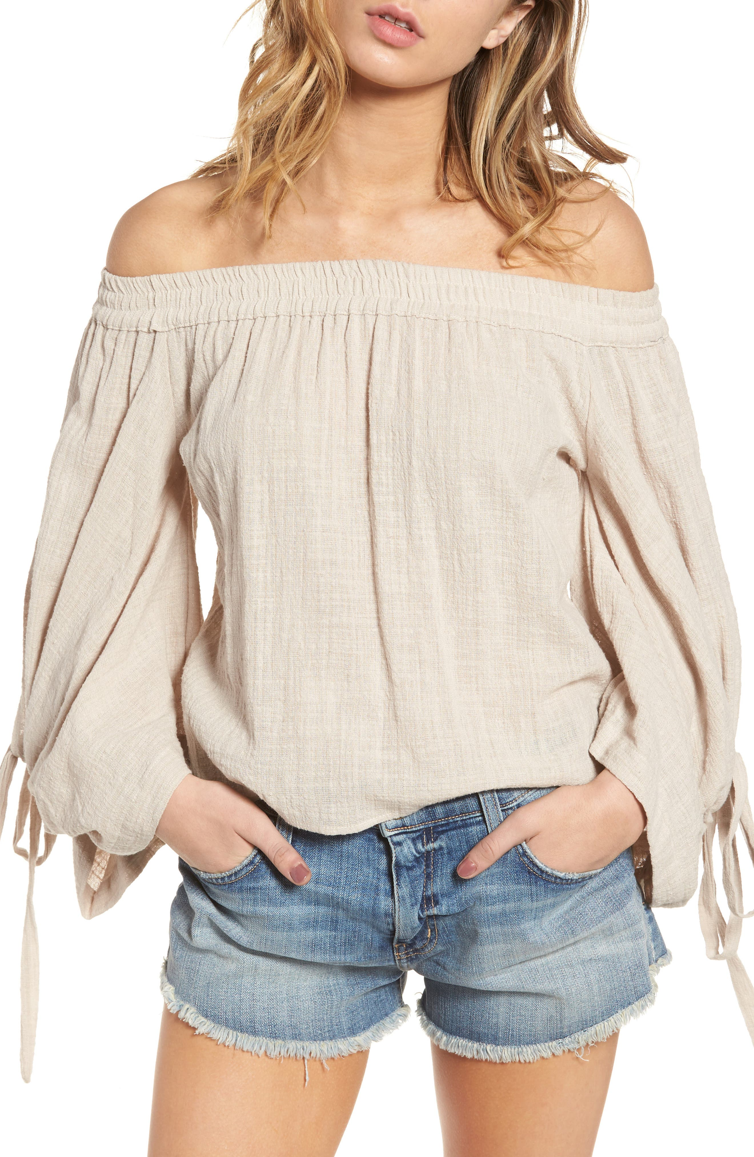 Adeli Off the Shoulder Top,                         Main,                         color, Oatmeal