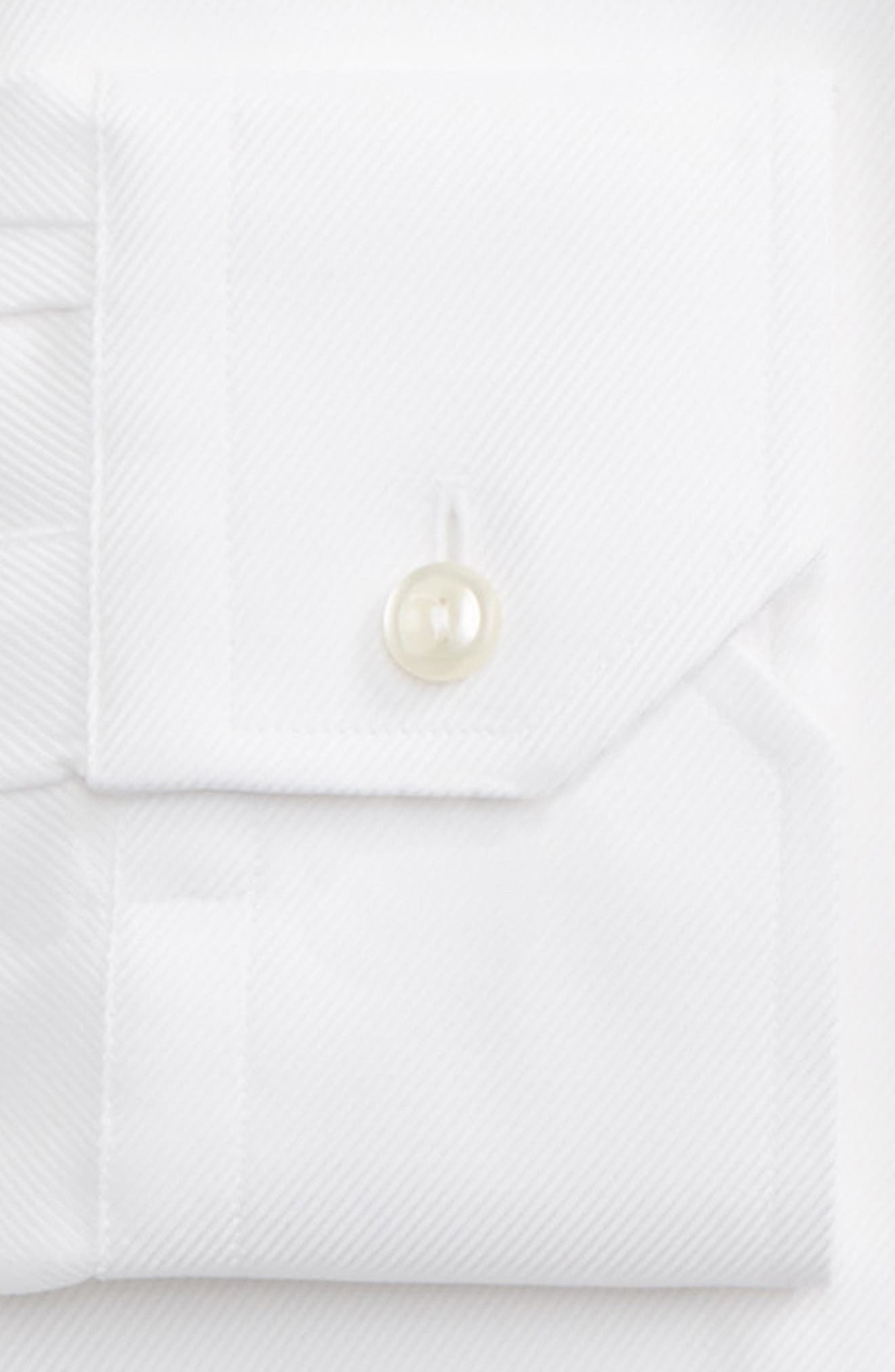 Slim Fit Cavalry Twill Dress Shirt,                             Alternate thumbnail 3, color,                             White