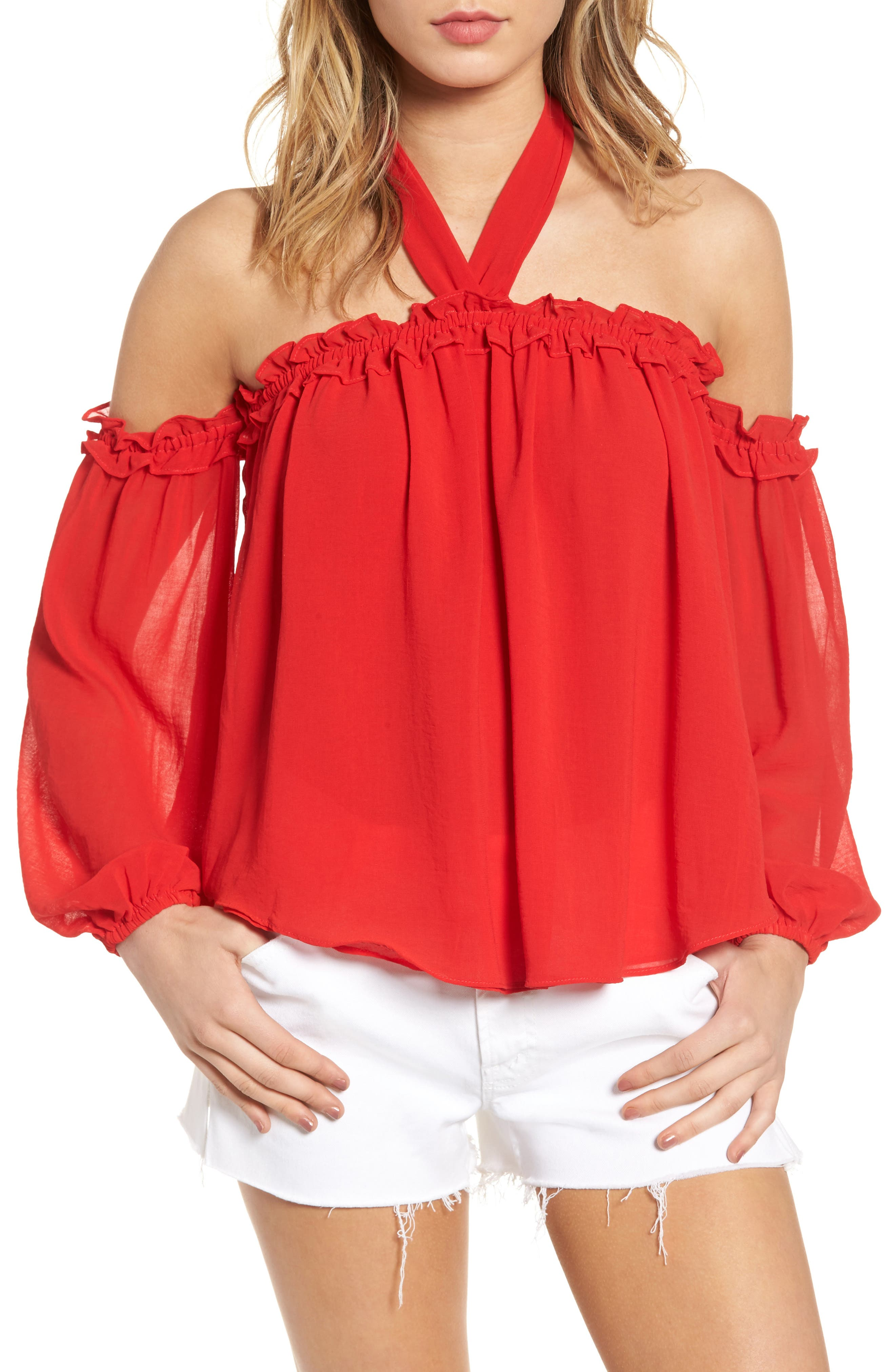 Lively Off the Shoulder Top,                             Main thumbnail 1, color,                             Red
