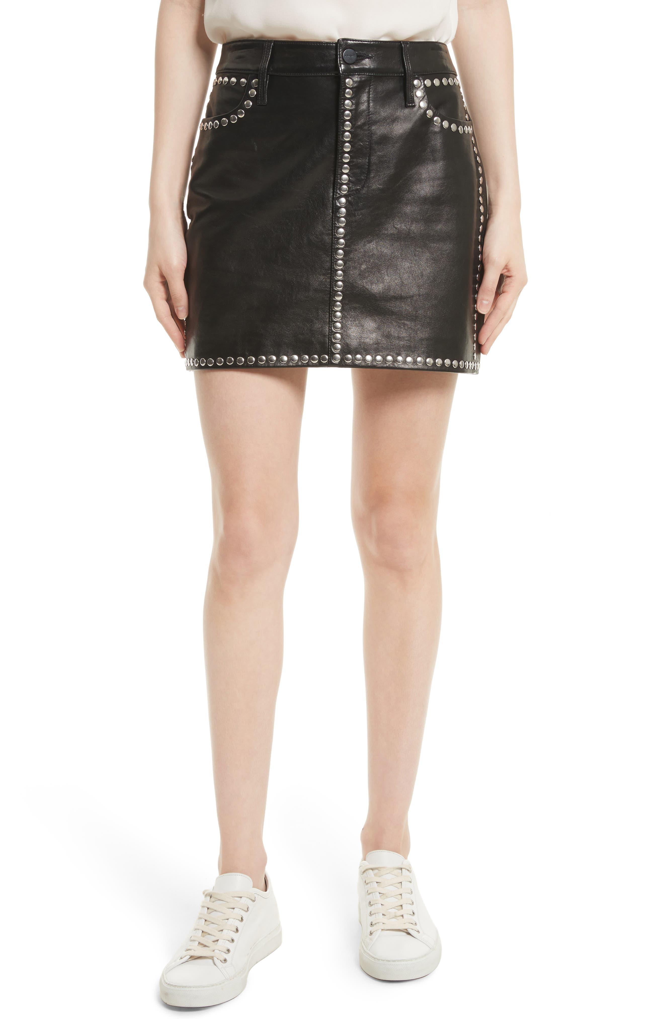 Studded Leather Miniskirt,                         Main,                         color, Noir