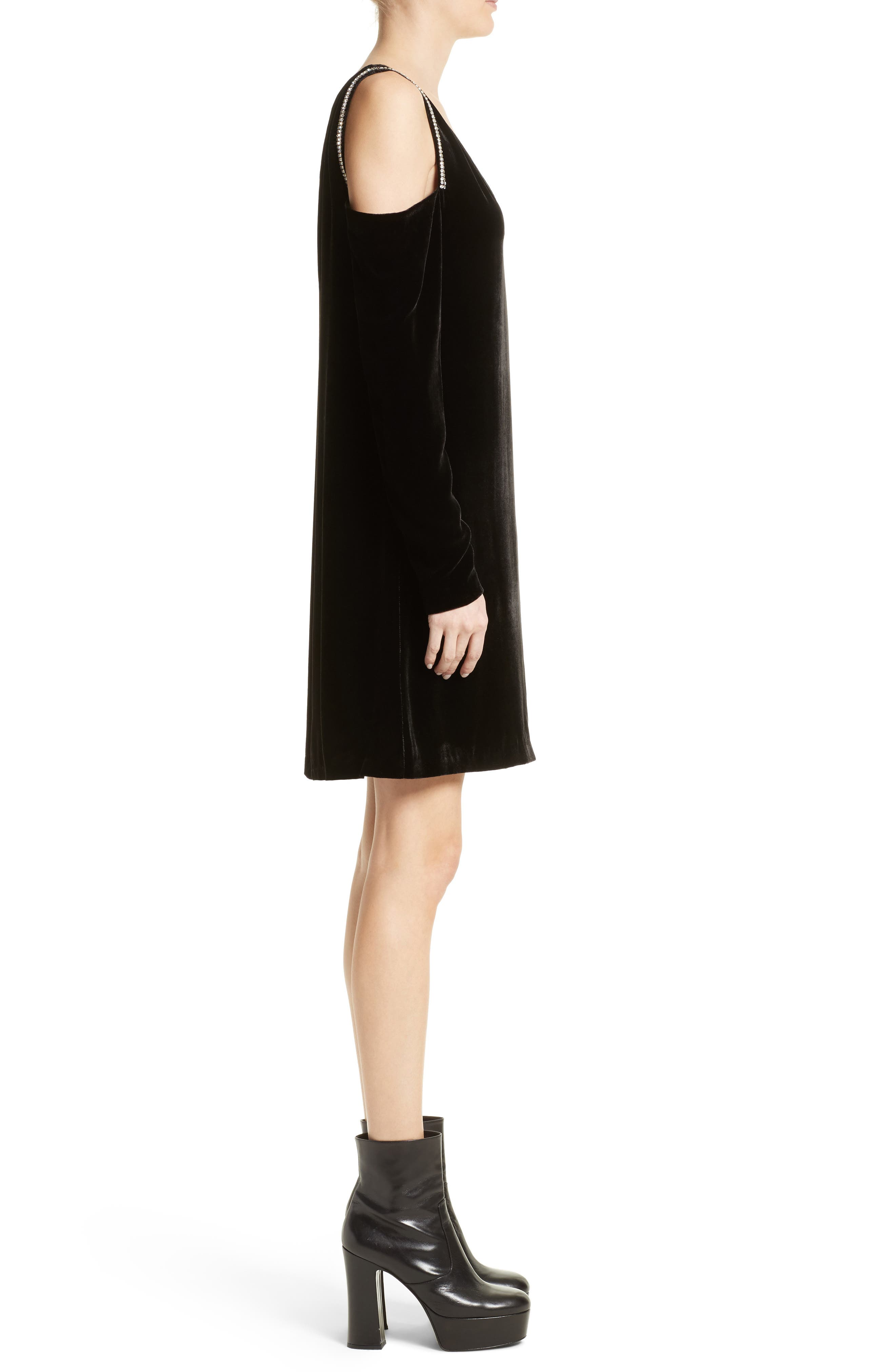 Alternate Image 3  - McQ Alexander McQueen Diam Velvet Cold Shoulder Dress