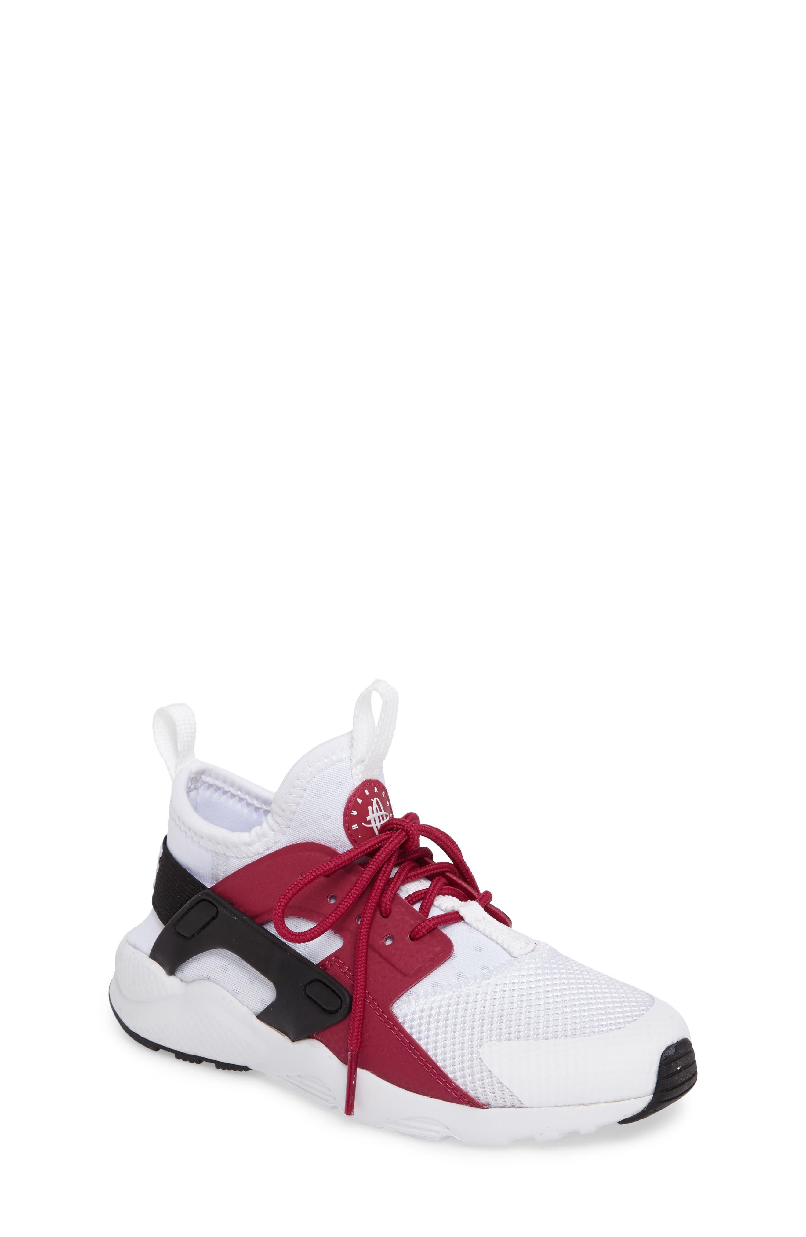 Air Huarache Run Ultra Sneaker,                             Main thumbnail 1, color,                             White/ Sport Fuchsia/ Black