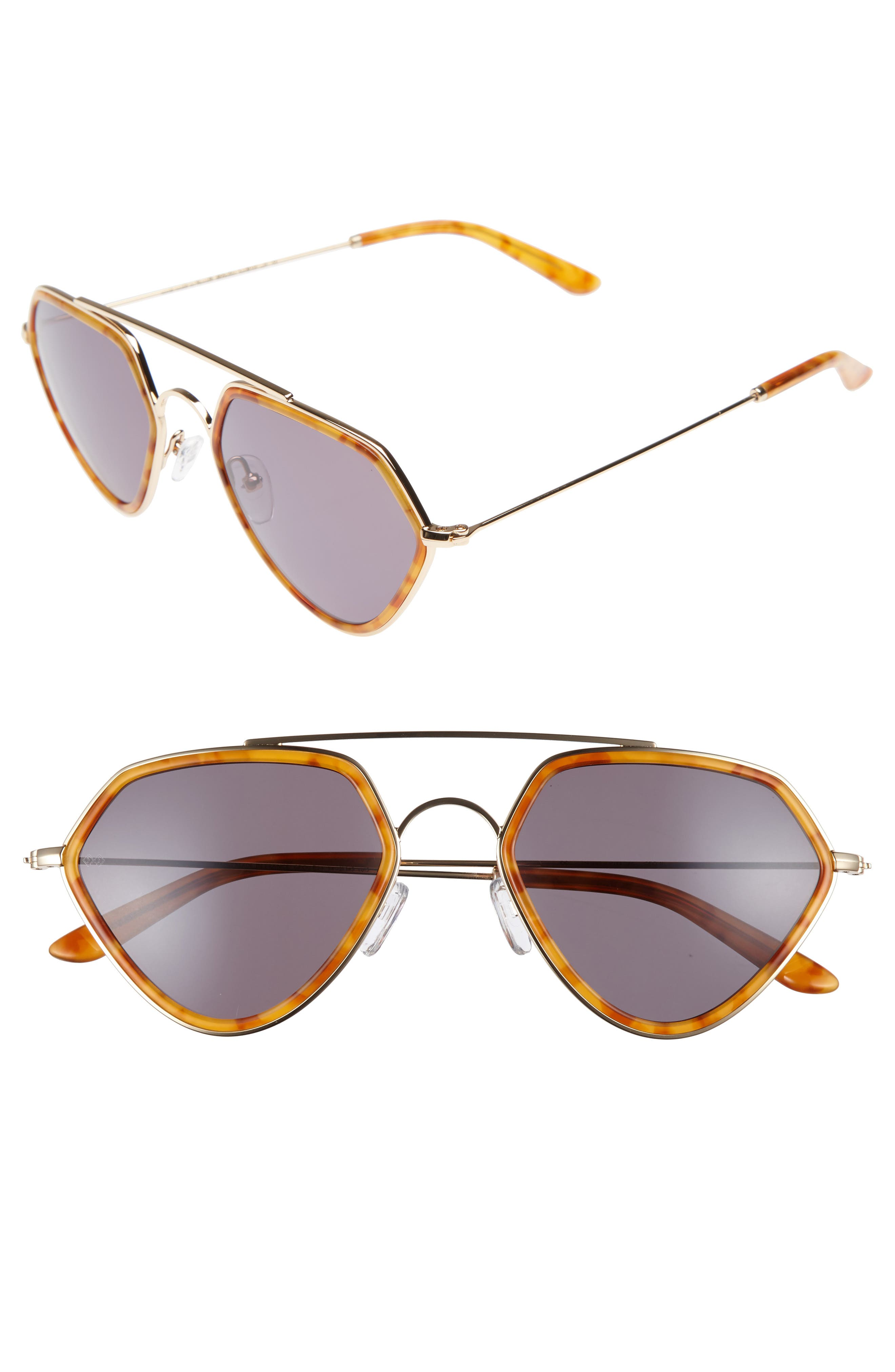 Geo 2 53mm Retro Sunglasses,                             Main thumbnail 1, color,                             Ginger Tortoise/ Green Grey