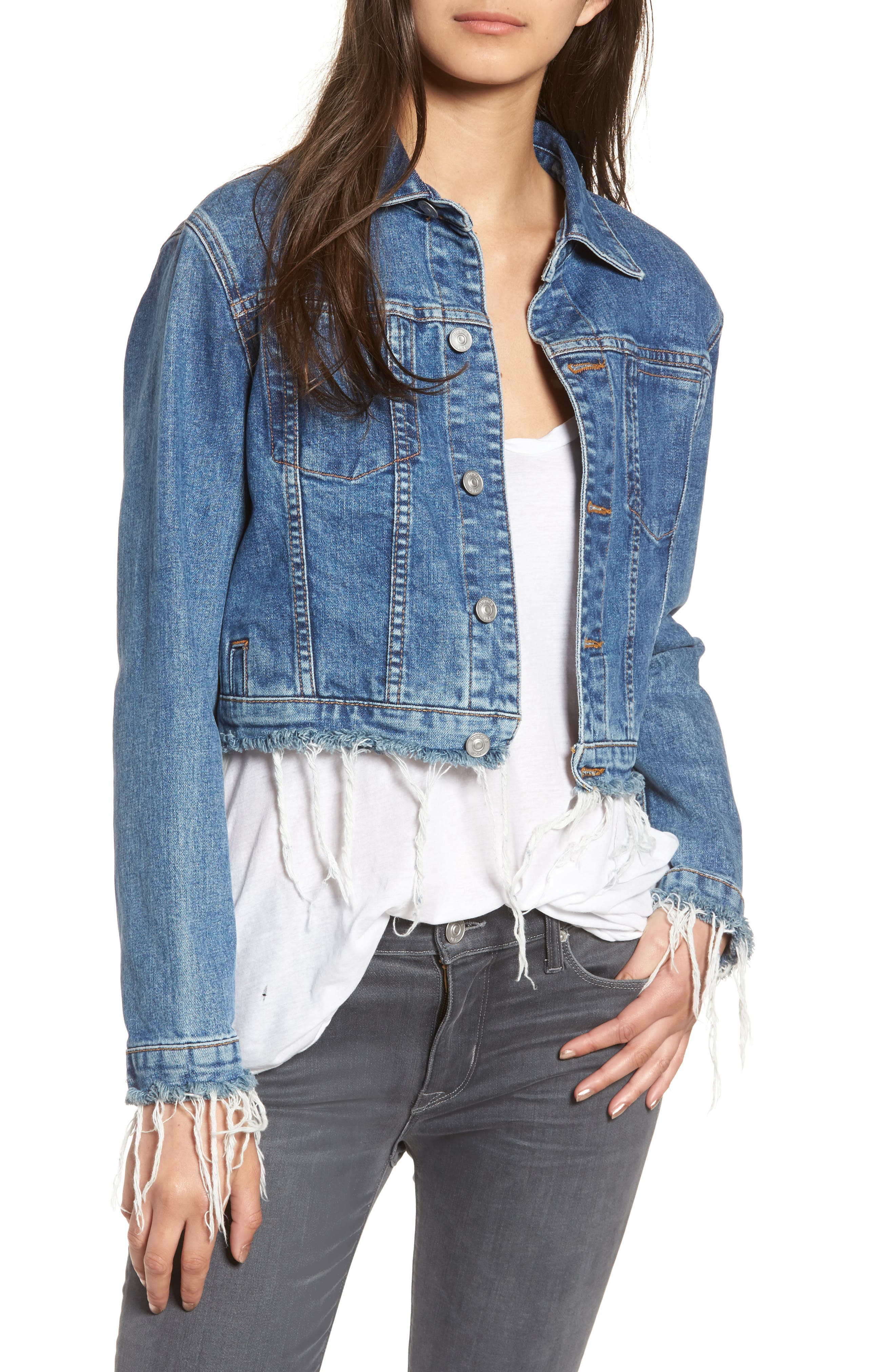 Garrison Crop Denim Jacket,                             Main thumbnail 1, color,                             Continuum