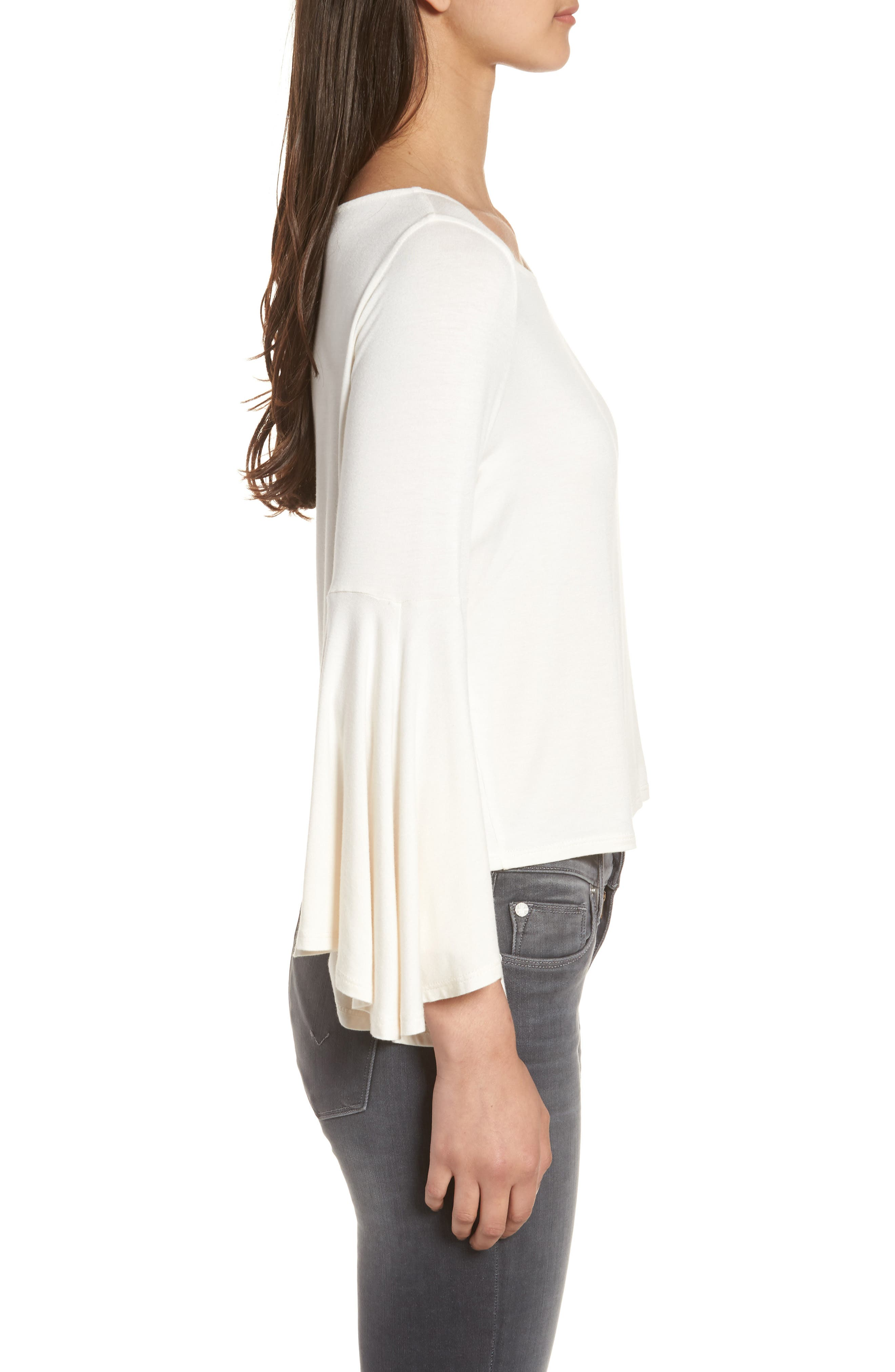 Bella Bell Sleeve Top,                             Alternate thumbnail 3, color,                             Natural