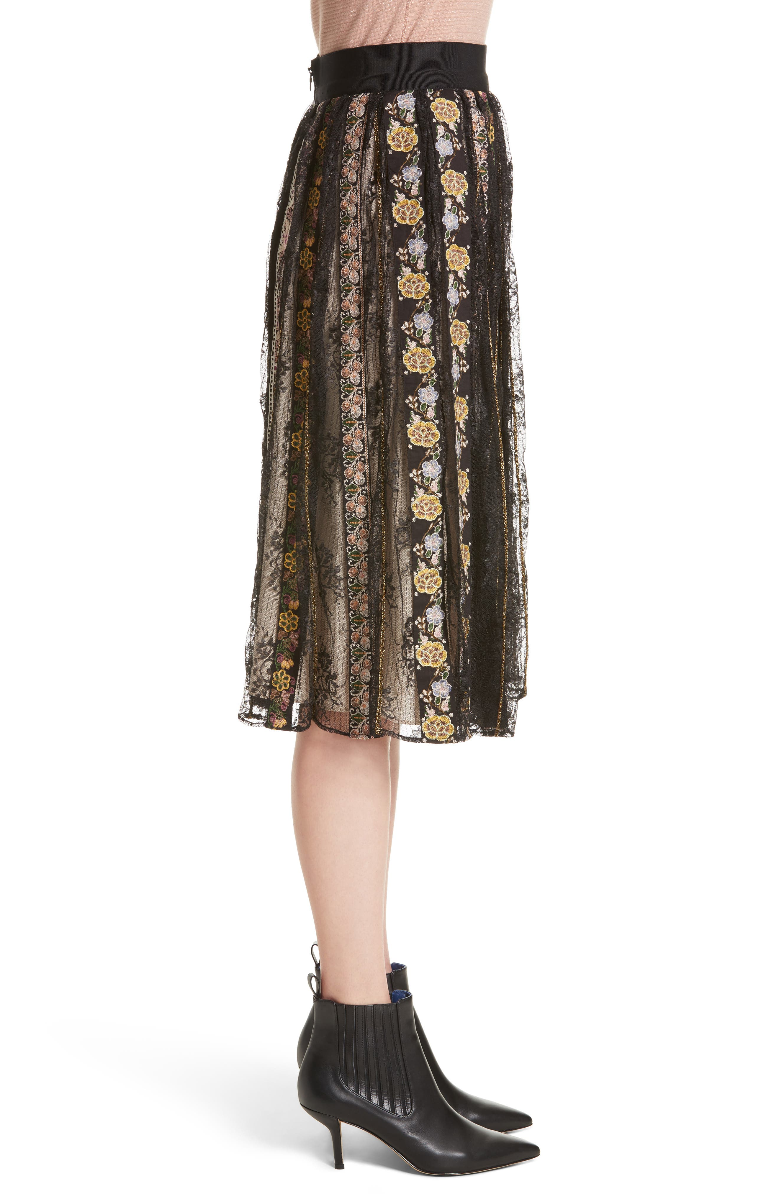 Alternate Image 3  - Alice + Olivia Birdie Flower Embroidered Skirt