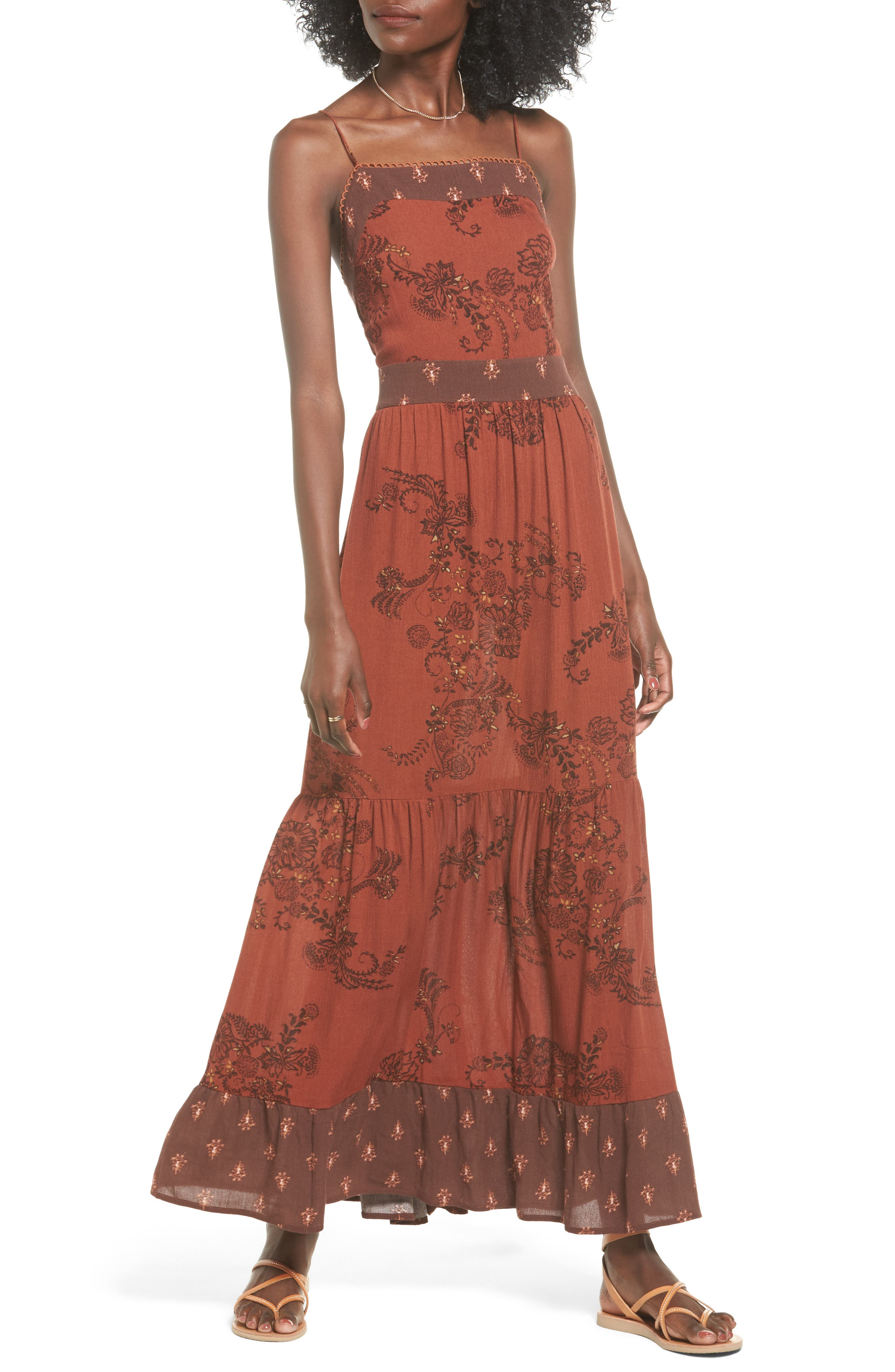 Sun & Shadow Print Maxi Dress