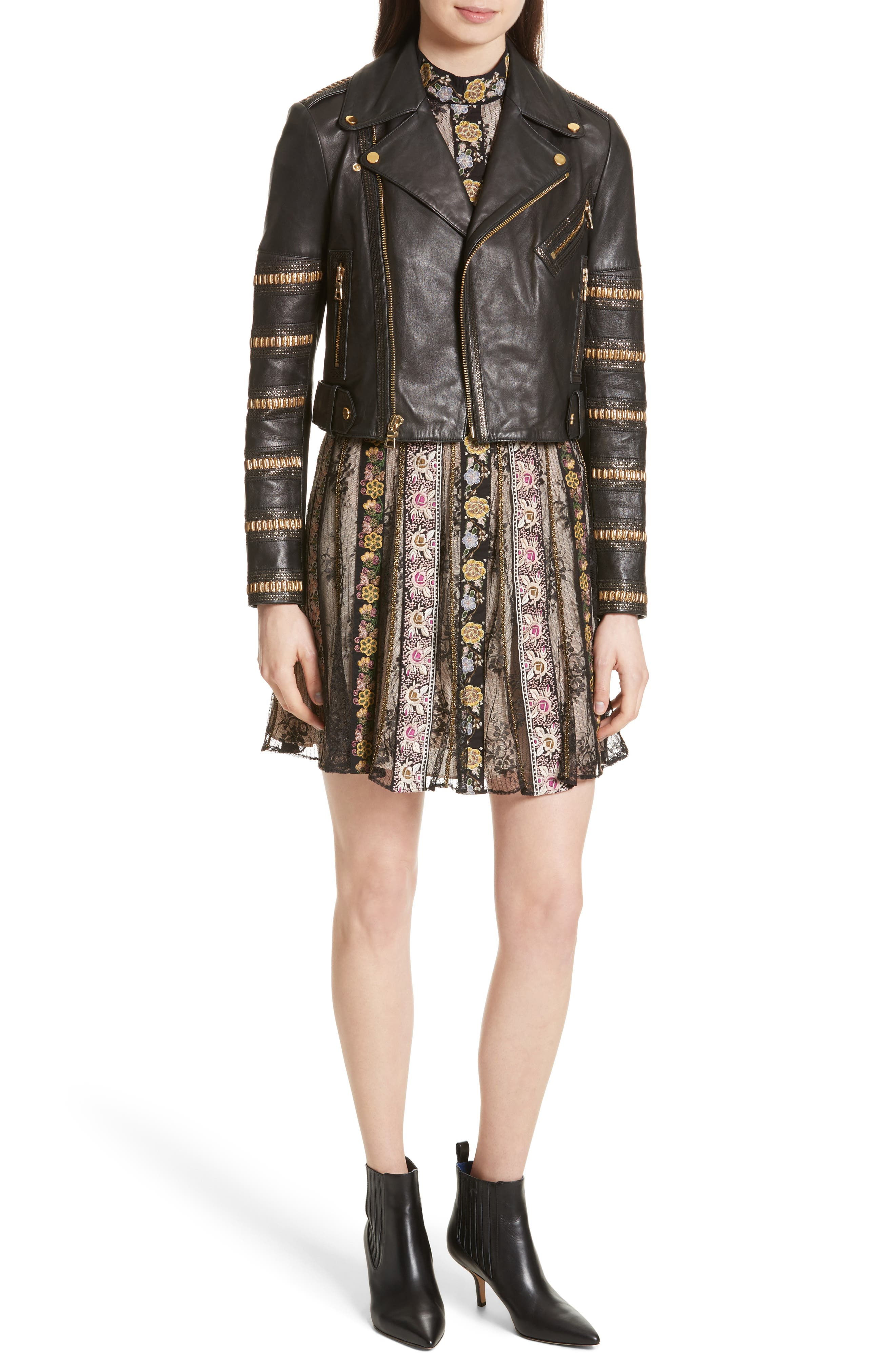 Gwyneth Embroidered Floral Dress,                             Alternate thumbnail 6, color,                             Black/ Multi