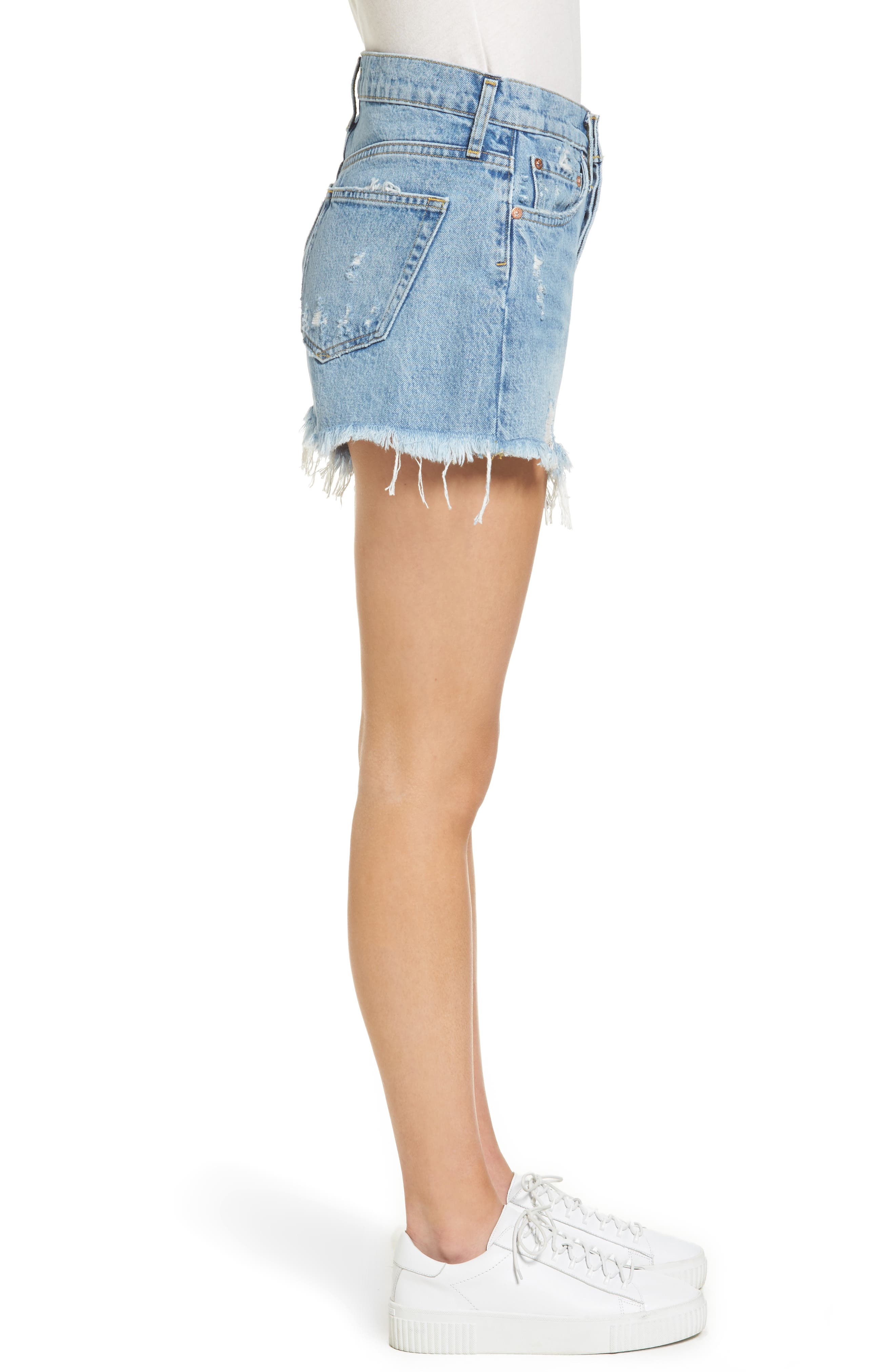Parker Distressed Denim Shorts,                             Alternate thumbnail 3, color,                             Swapmeet