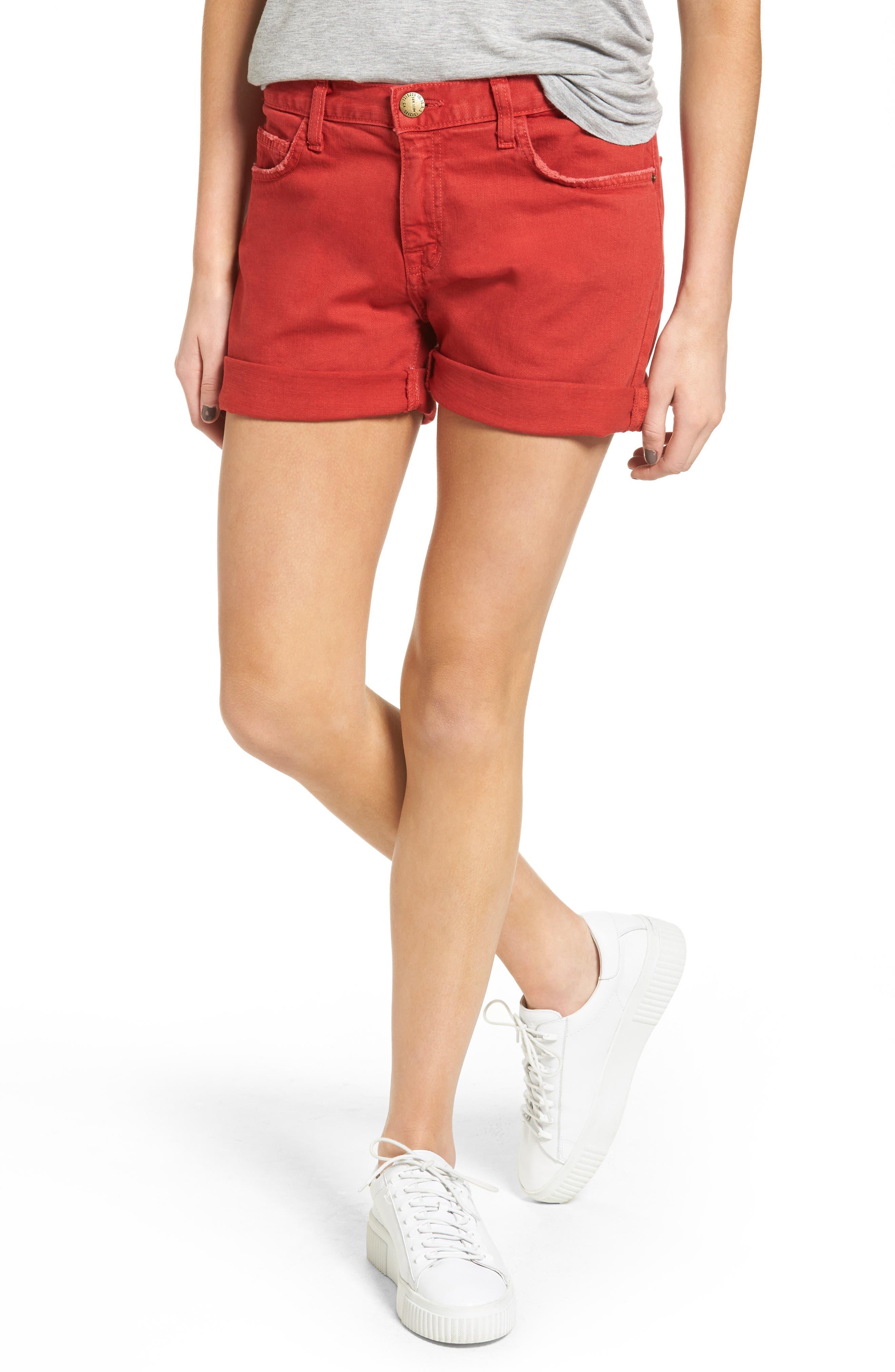 Current/Elliott The Boyfriend Rolled Denim Shorts (Scarlet)