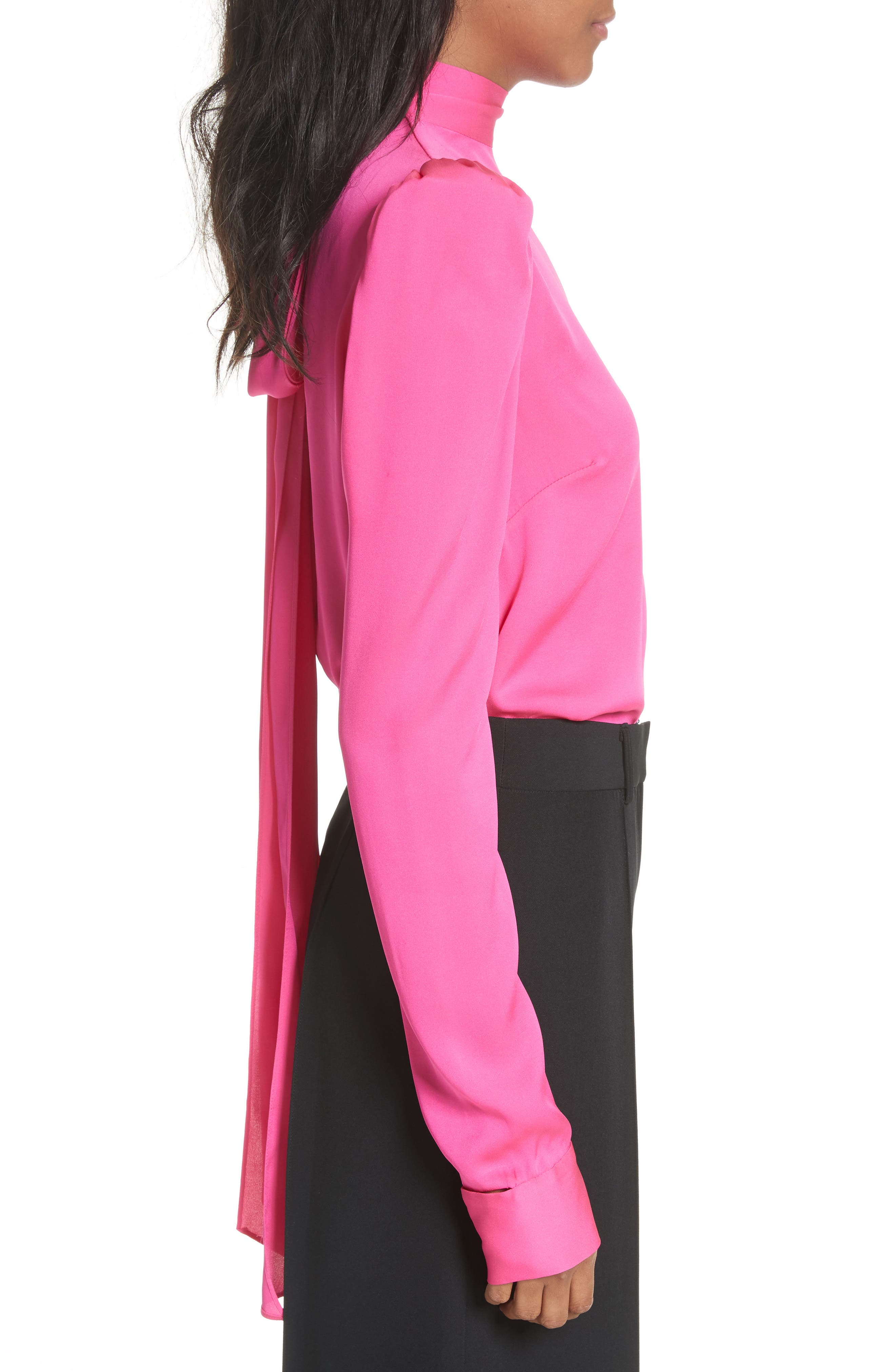 Tie Back Stretch Silk Blouse,                             Alternate thumbnail 3, color,                             Pink