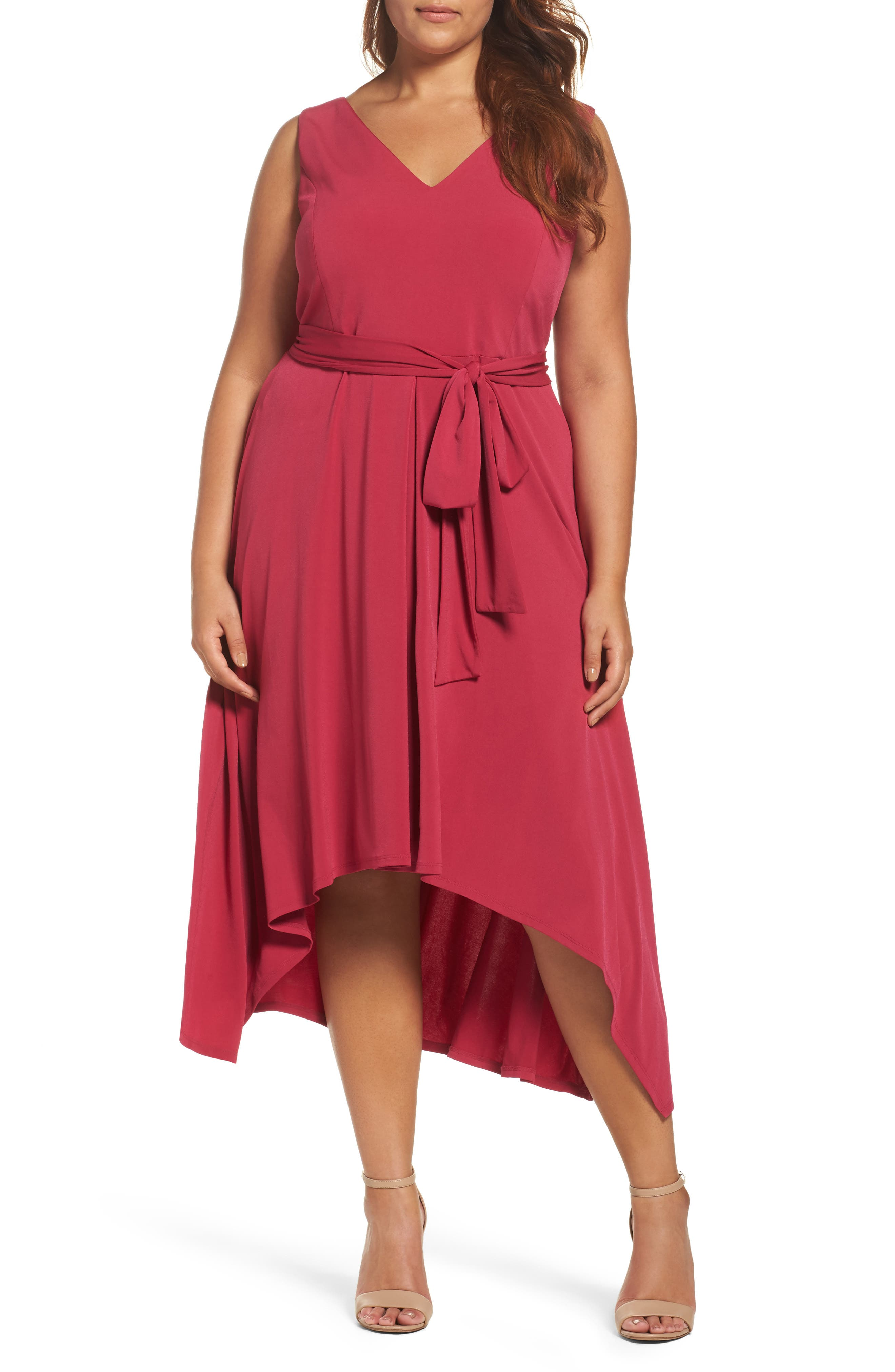 Vince Camuto Asymmetrical Belted Dress (Plus Size)