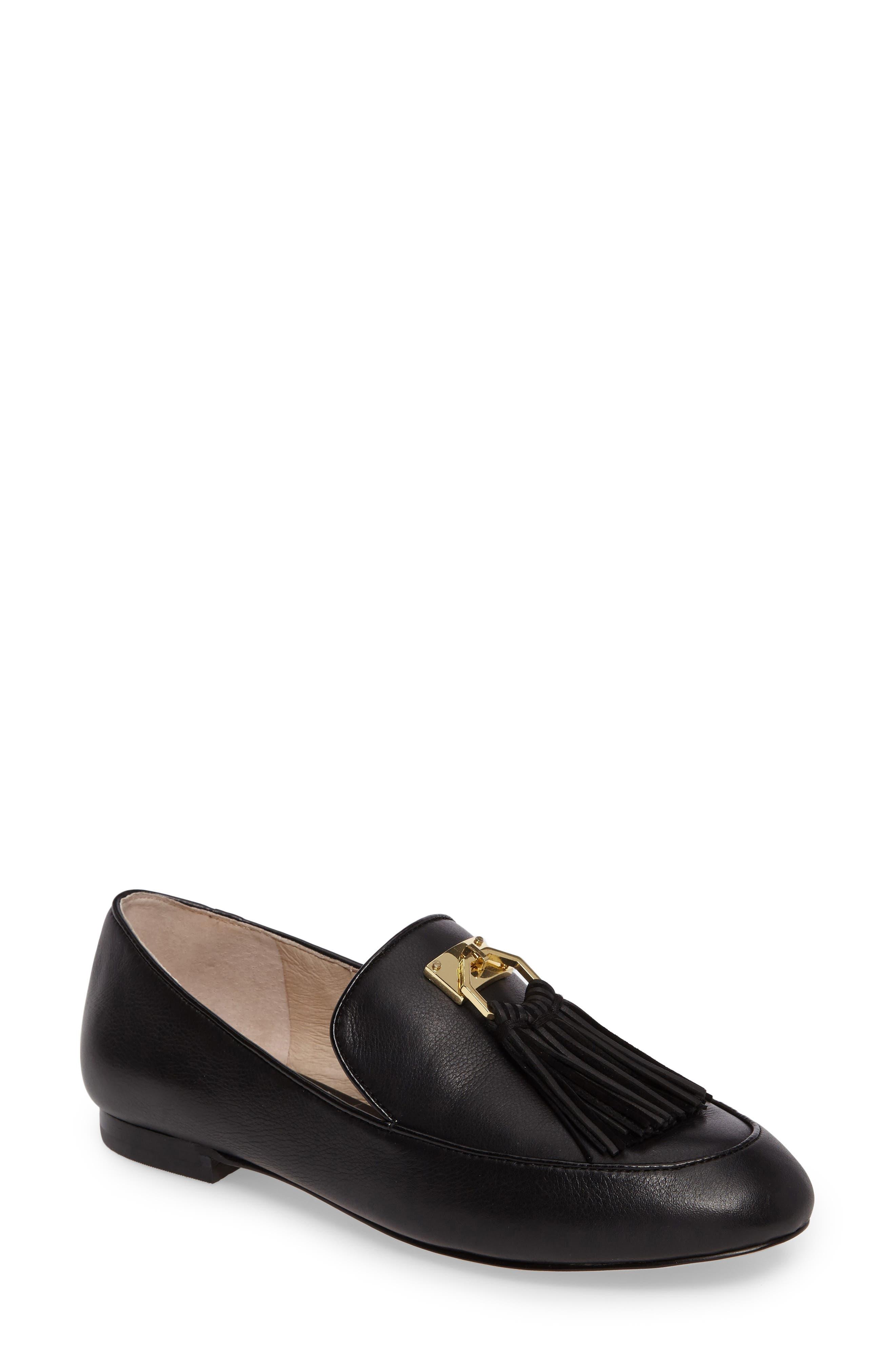 Faru Tassel Loafer,                         Main,                         color, Black Leather