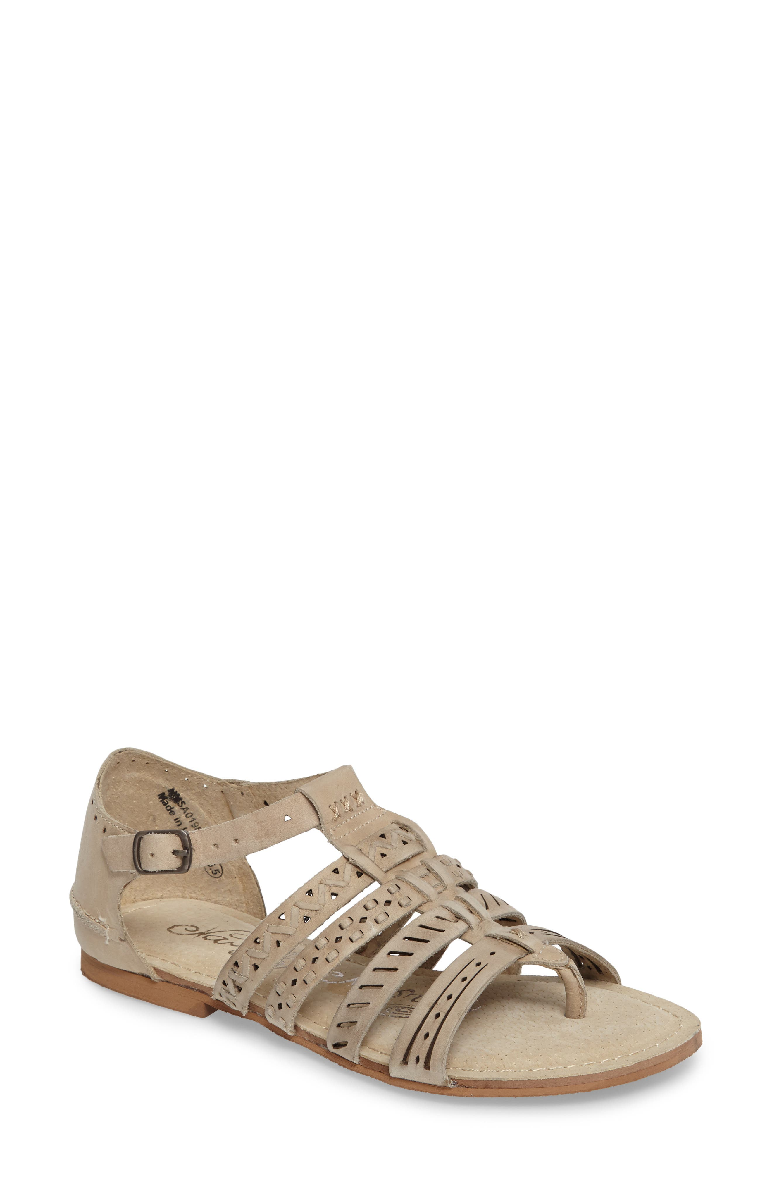 True Grit Perforated Sandal,                         Main,                         color, Cream Leather