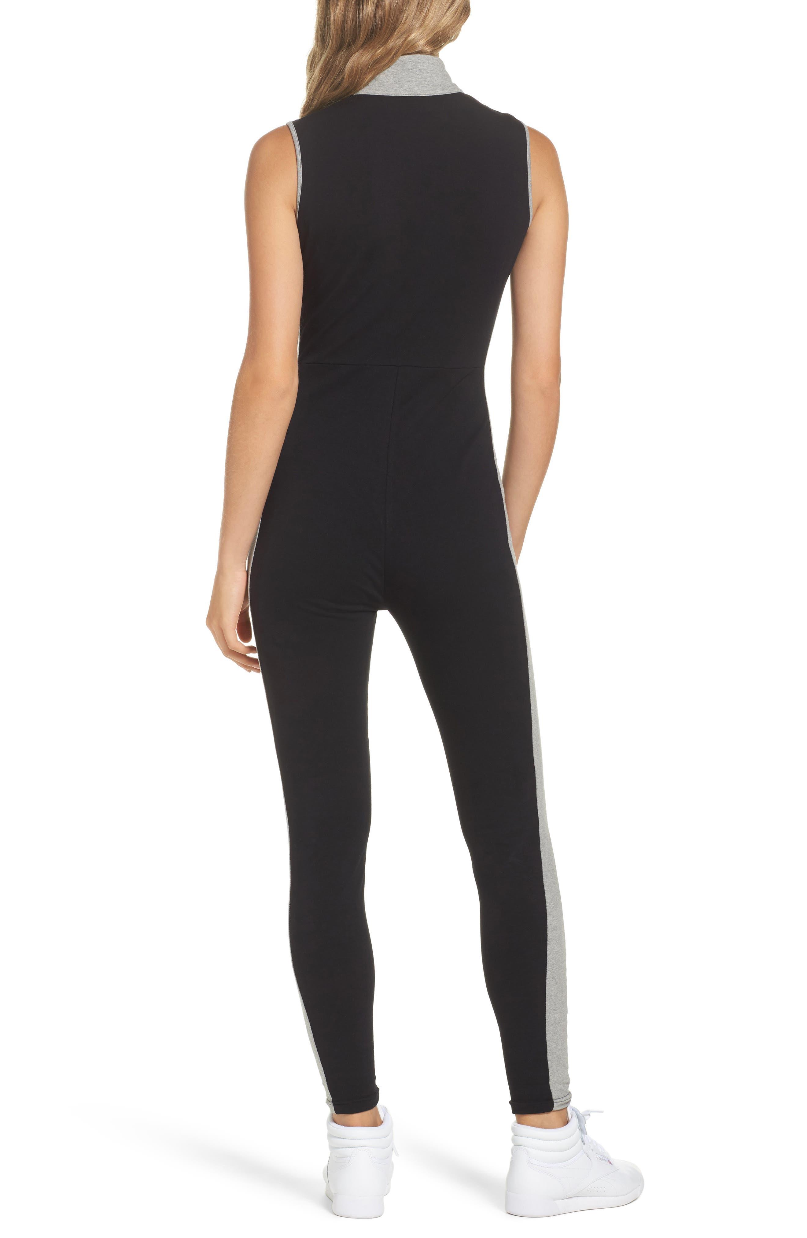 Roseann Jumpsuit,                             Alternate thumbnail 2, color,                             Black/ Grey Heather/ White