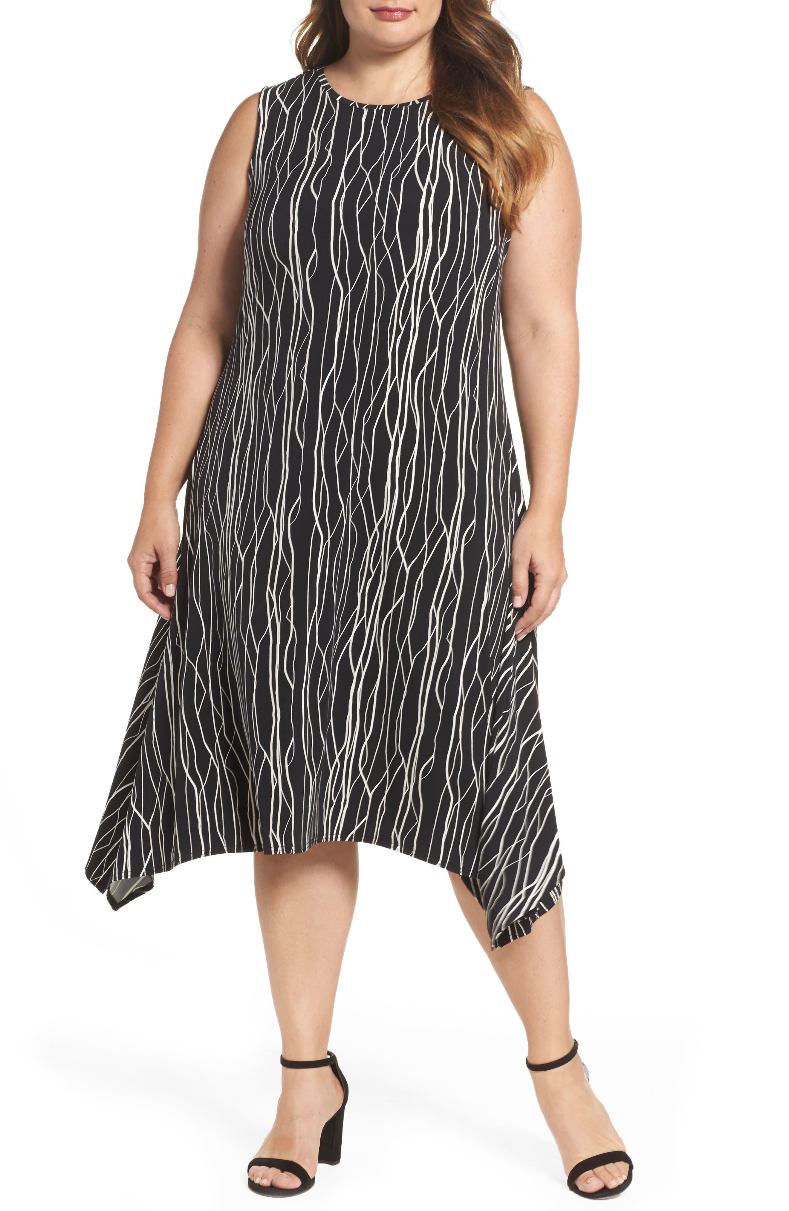 Vince Camuto Electric Lines Shark Bite Hem Dress (Plus Size)