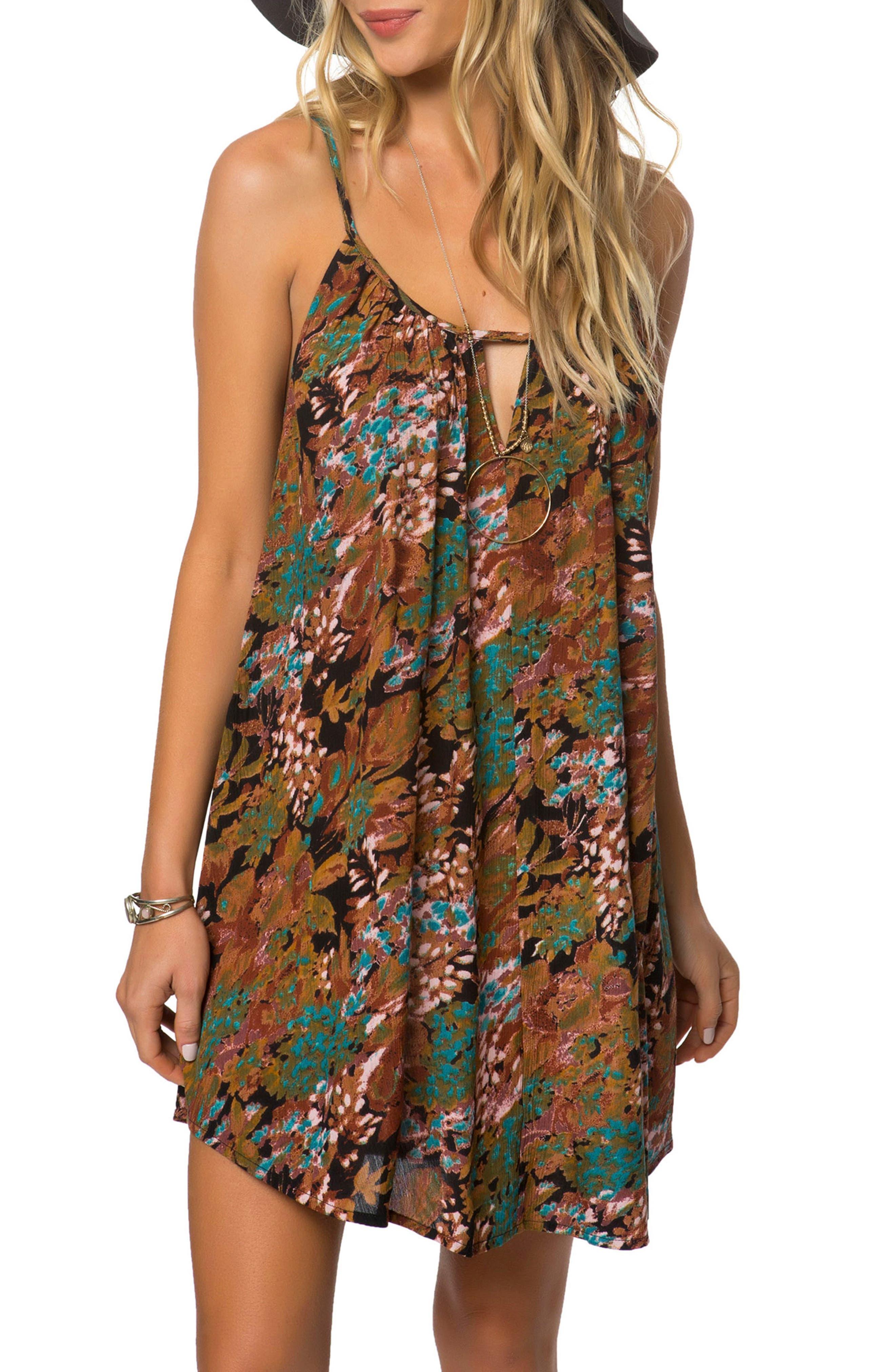 Marnie Print Camisole Dress,                         Main,                         color, Jet Black
