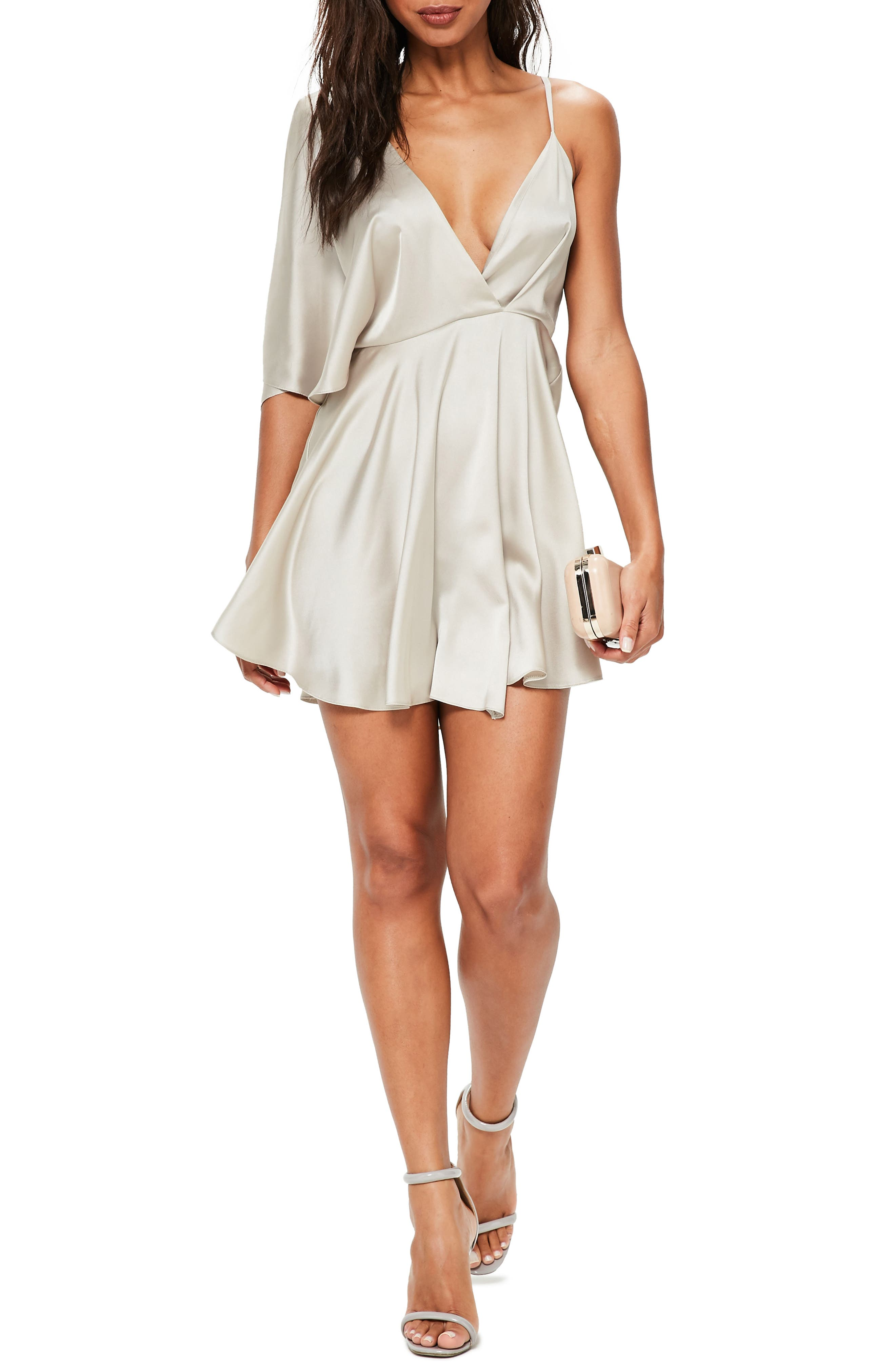 Asymmetrical Sleeve Swing Dress,                         Main,                         color, Mink
