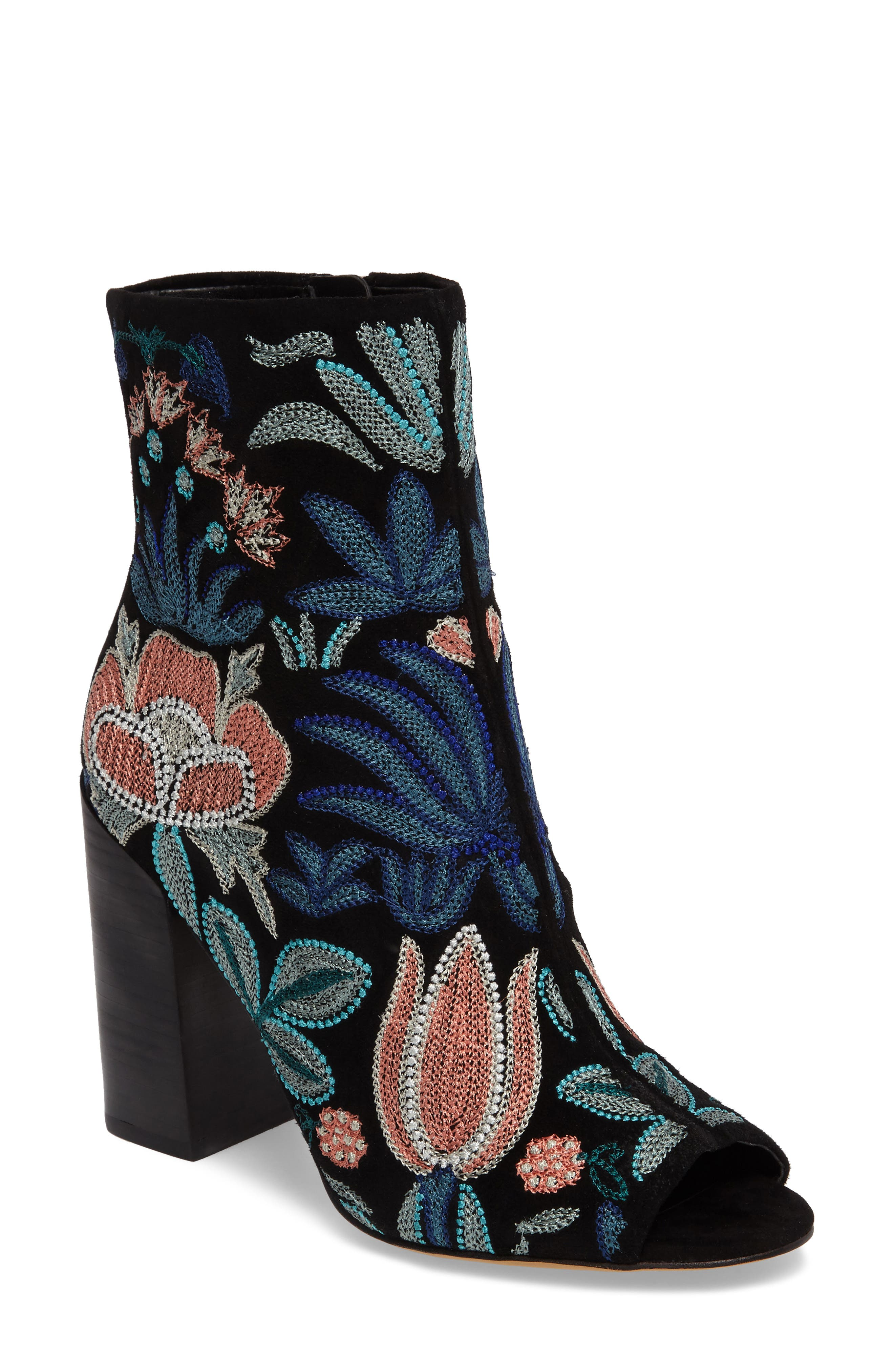 Alternate Image 1 Selected - Rebecca Minkoff Billie Floral Open Toe Bootie (Women)