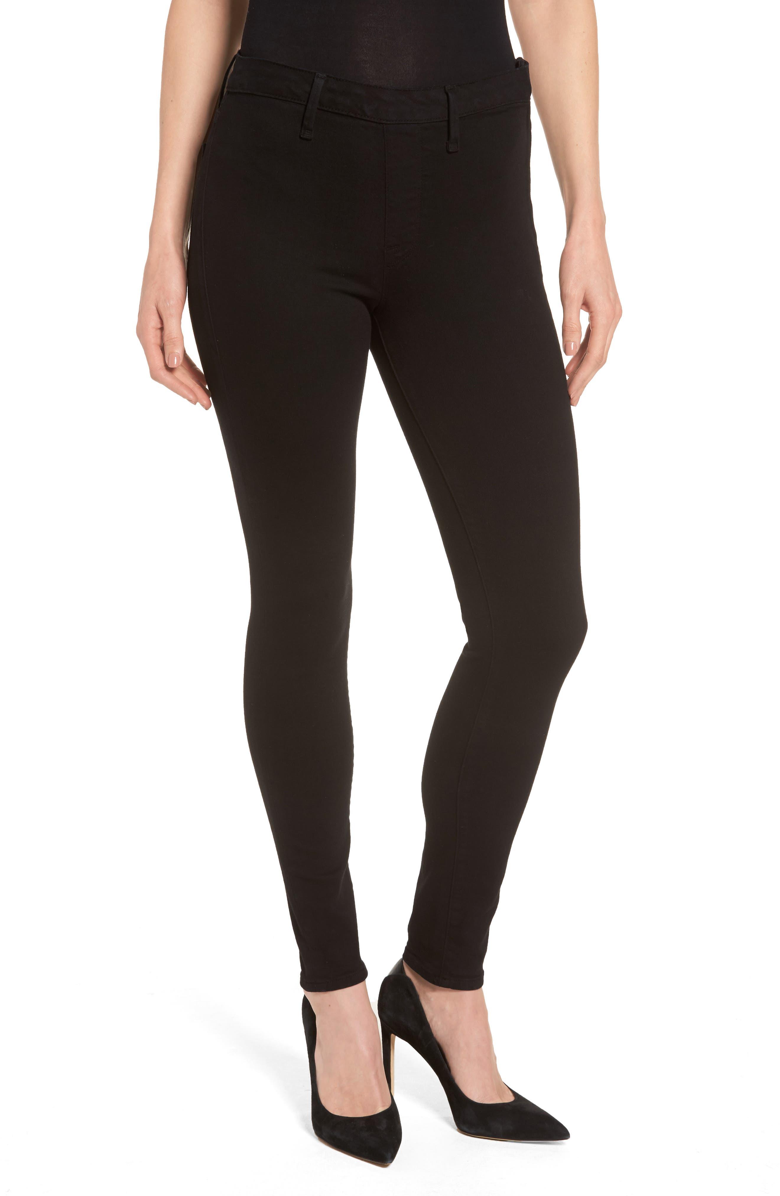 Alternate Image 1 Selected - Good American High Waist Side Zip Skinny Jeans (Black 001) (Extended Sizes)