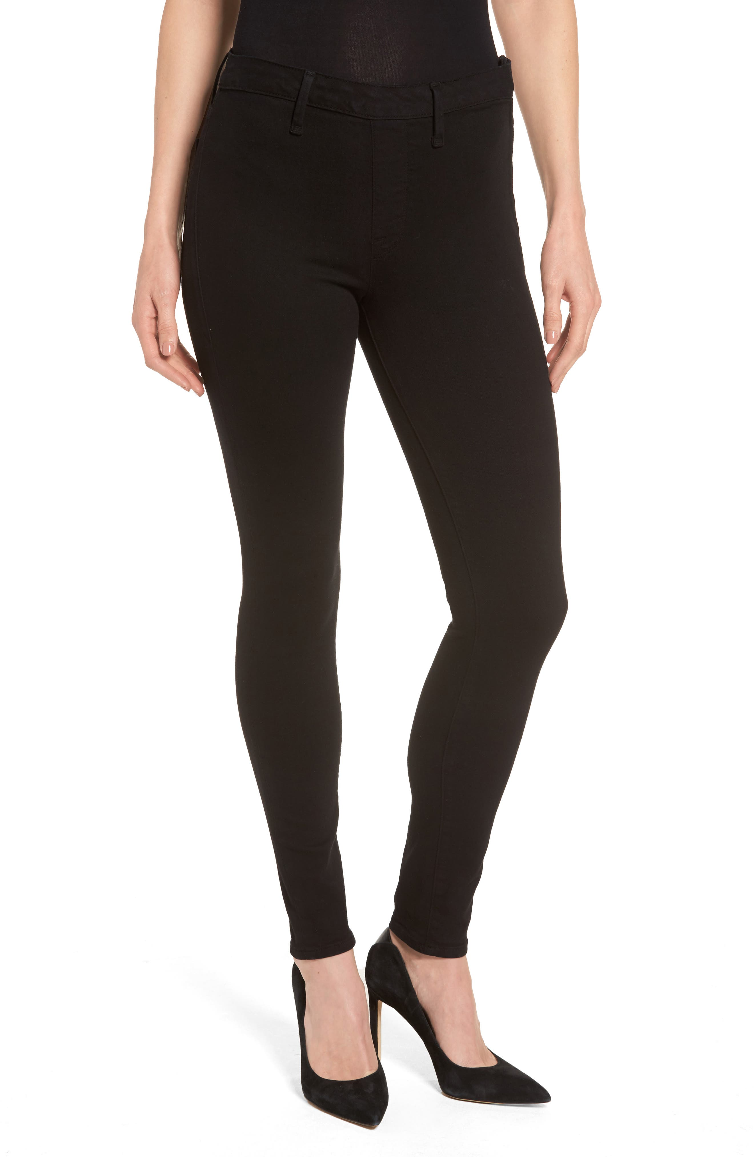 Main Image - Good American High Waist Side Zip Skinny Jeans (Black 001) (Extended Sizes)