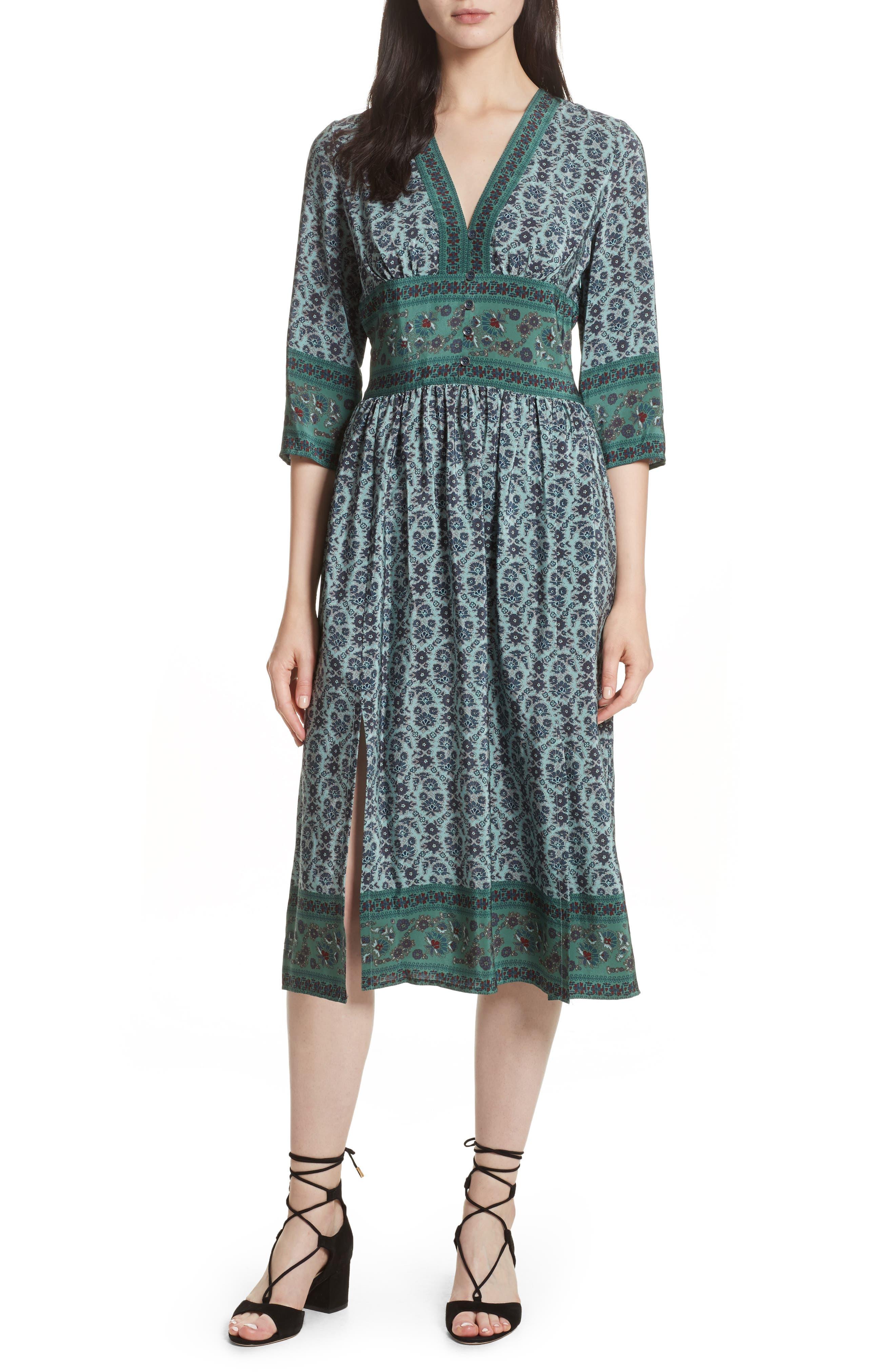 Print Silk Midi Dress,                         Main,                         color, Jade