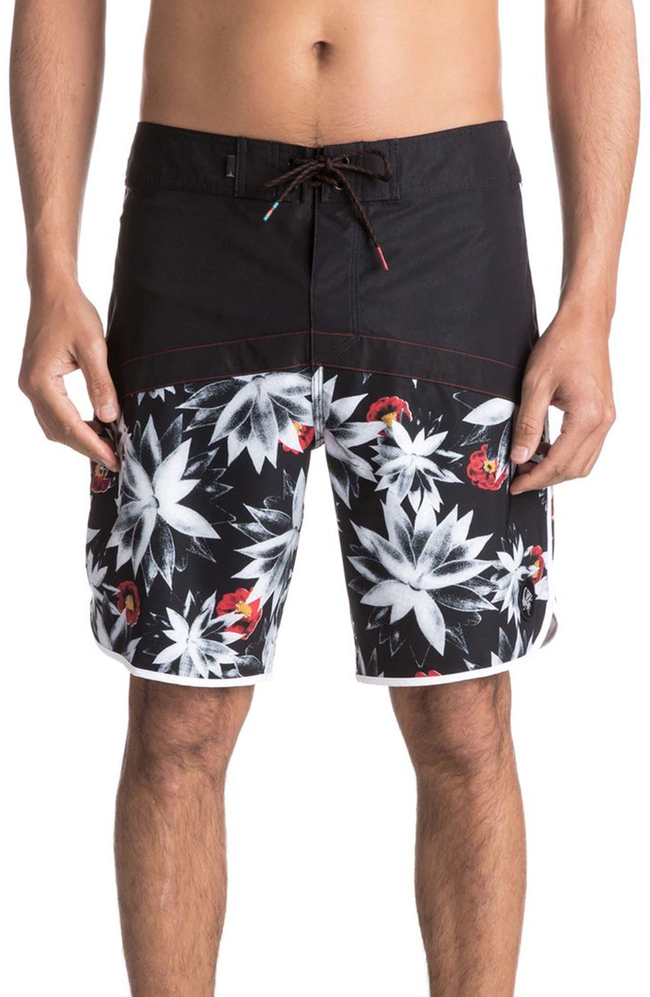Crypt Scallop Board Shorts,                         Main,                         color, Black