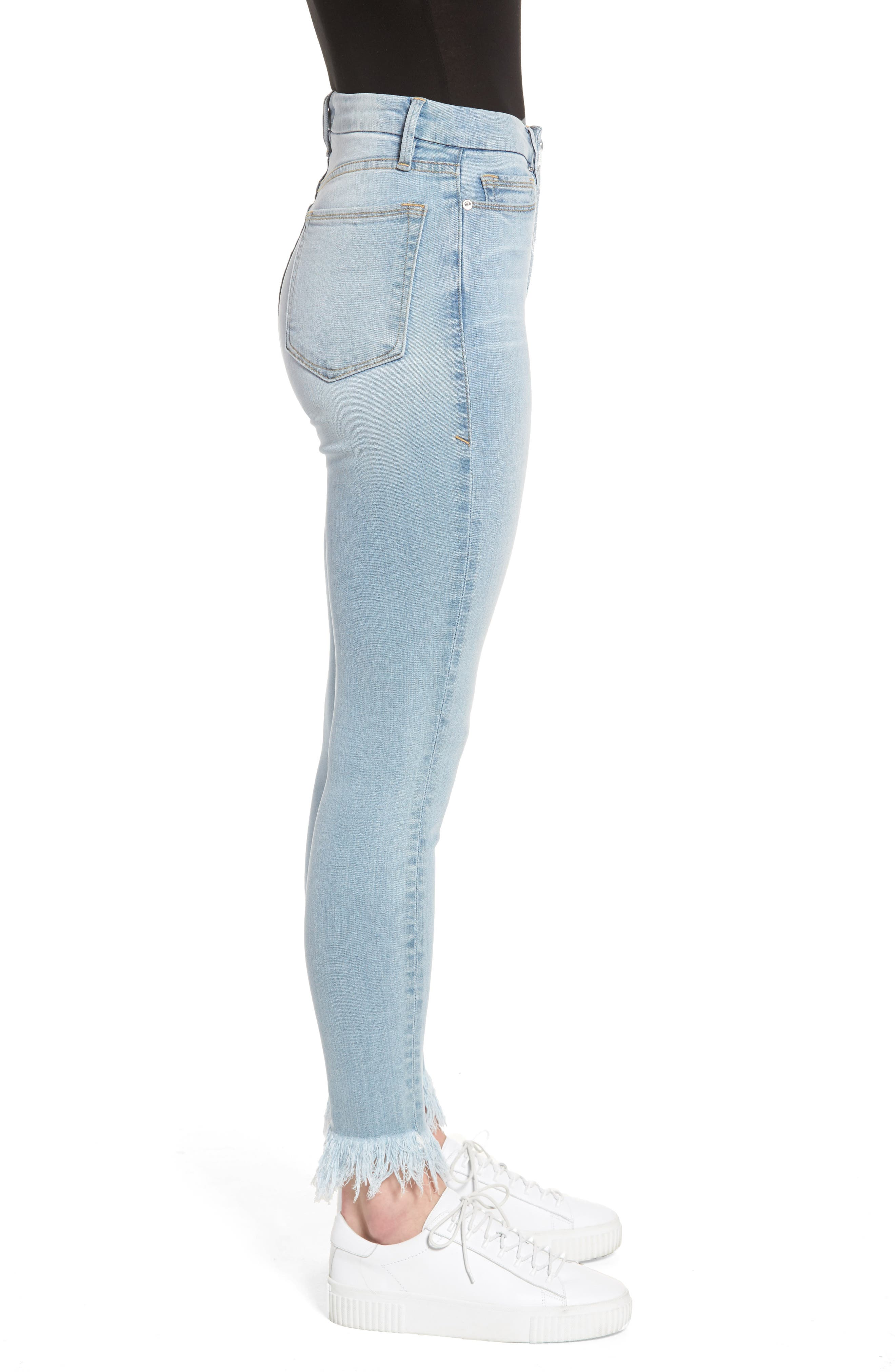 Alternate Image 3  - Good American Good Waist High Waist Frayed Ankle Skinny Jeans (Blue 054) (Extended Sizes)