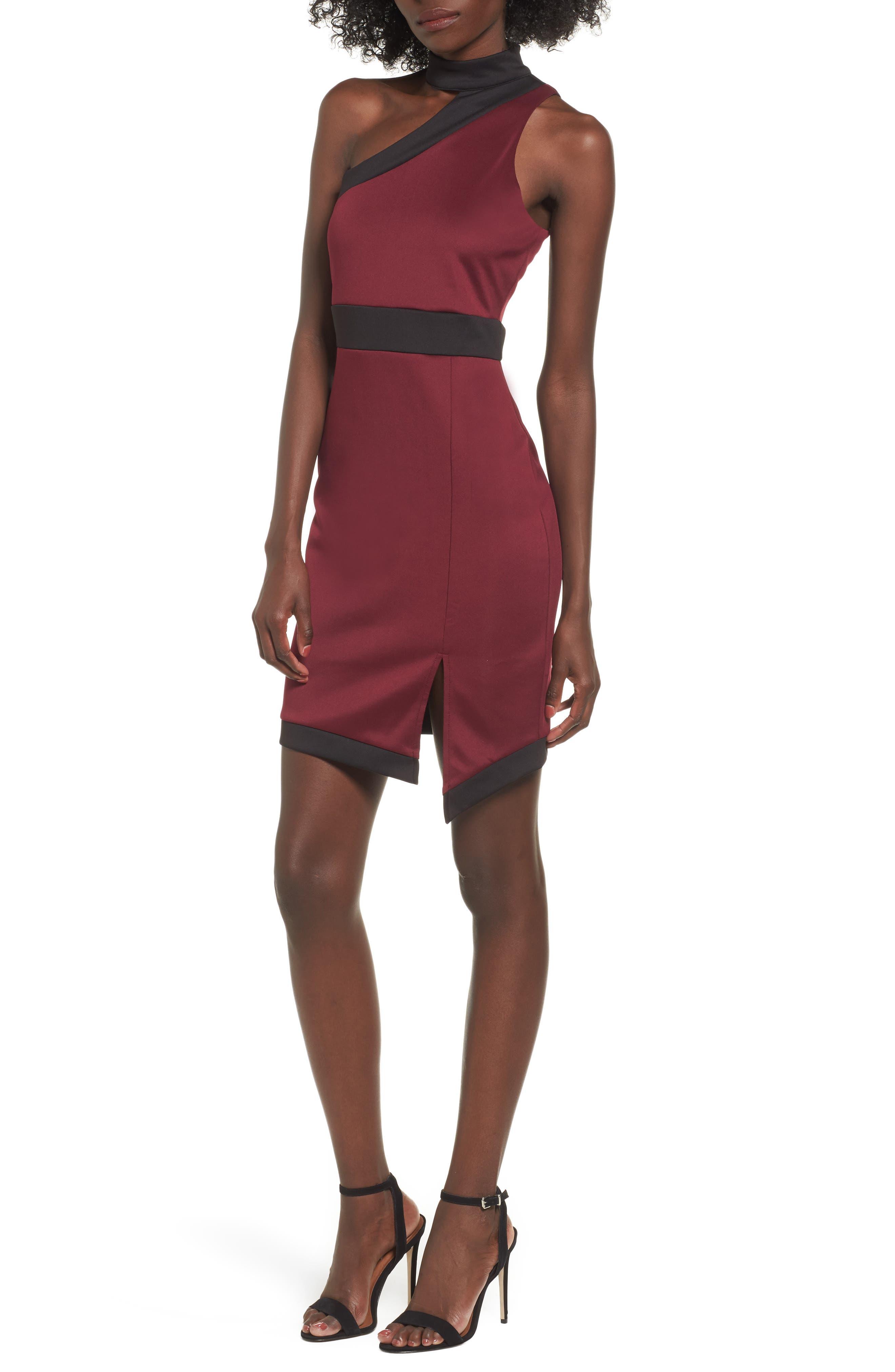 Love, Nickie Lew One-Shoulder Choker Dress