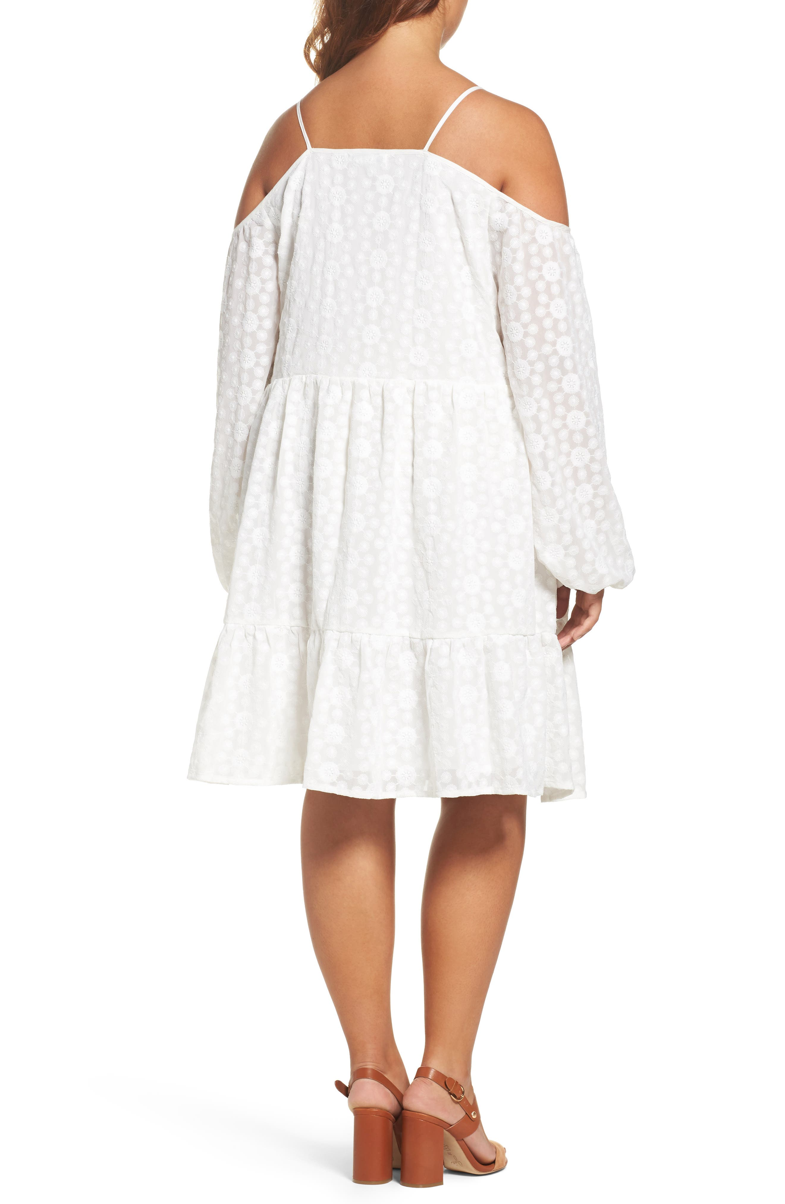 Off the Shoulder Embroidered Trapeze Dress,                             Alternate thumbnail 2, color,                             White