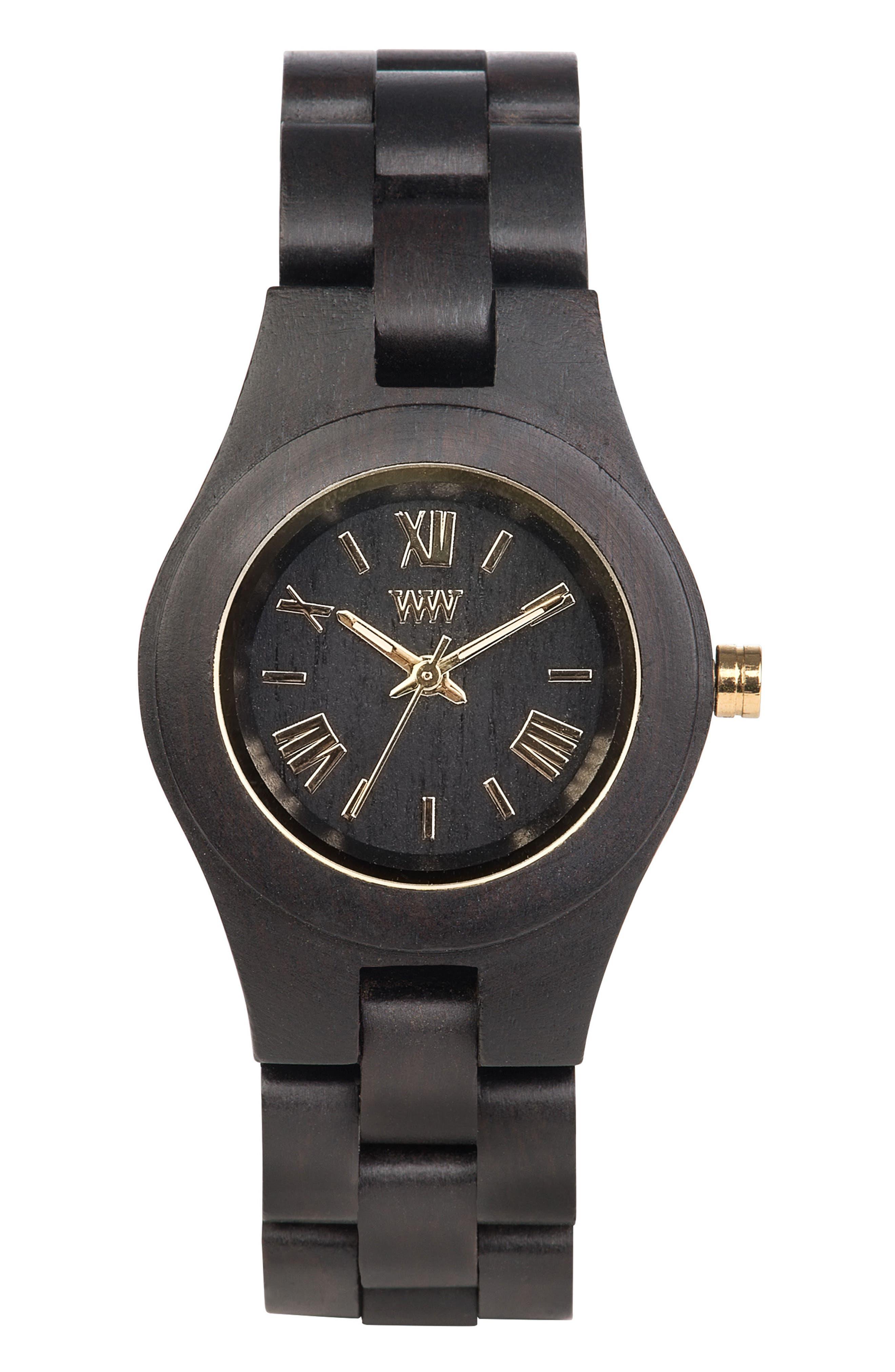 Criss Wood Bracelet Watch, 31mm,                             Main thumbnail 1, color,                             Black