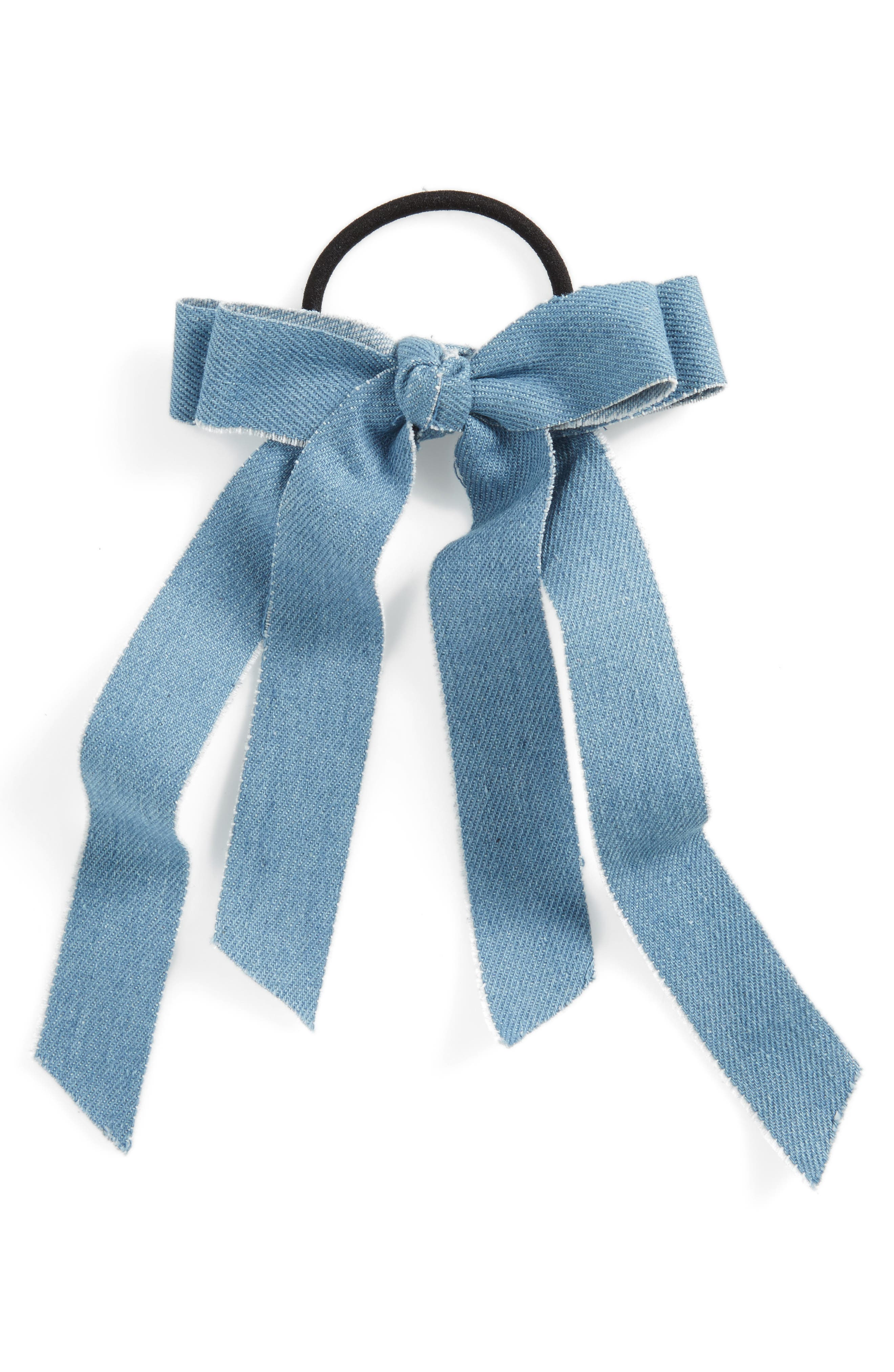 Denim Bow Ponytail Elastic,                         Main,                         color, Light Blue