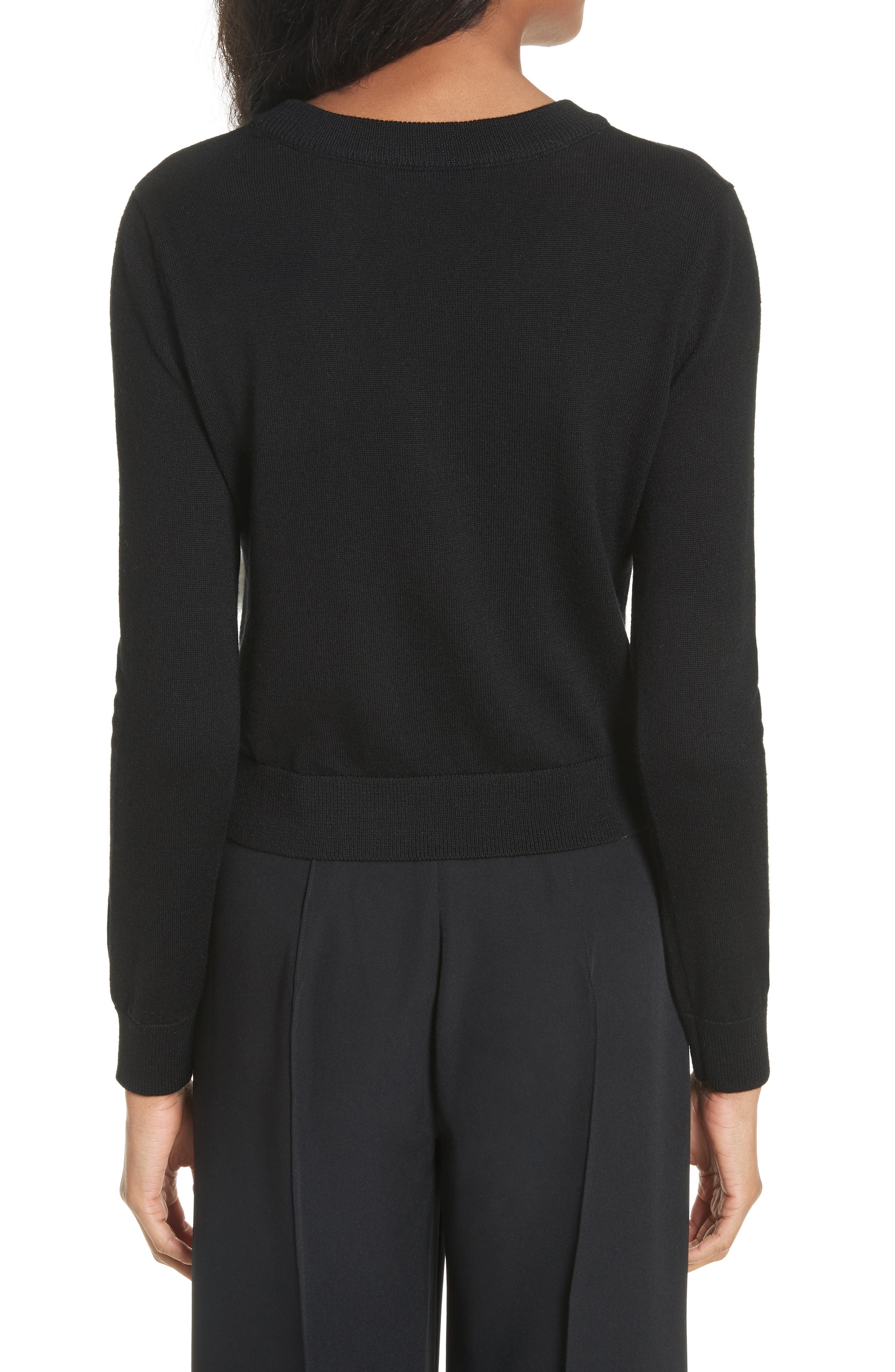 Beaded Wool Sweater with Genuine Rabbit Fur Trim,                             Alternate thumbnail 2, color,                             Black