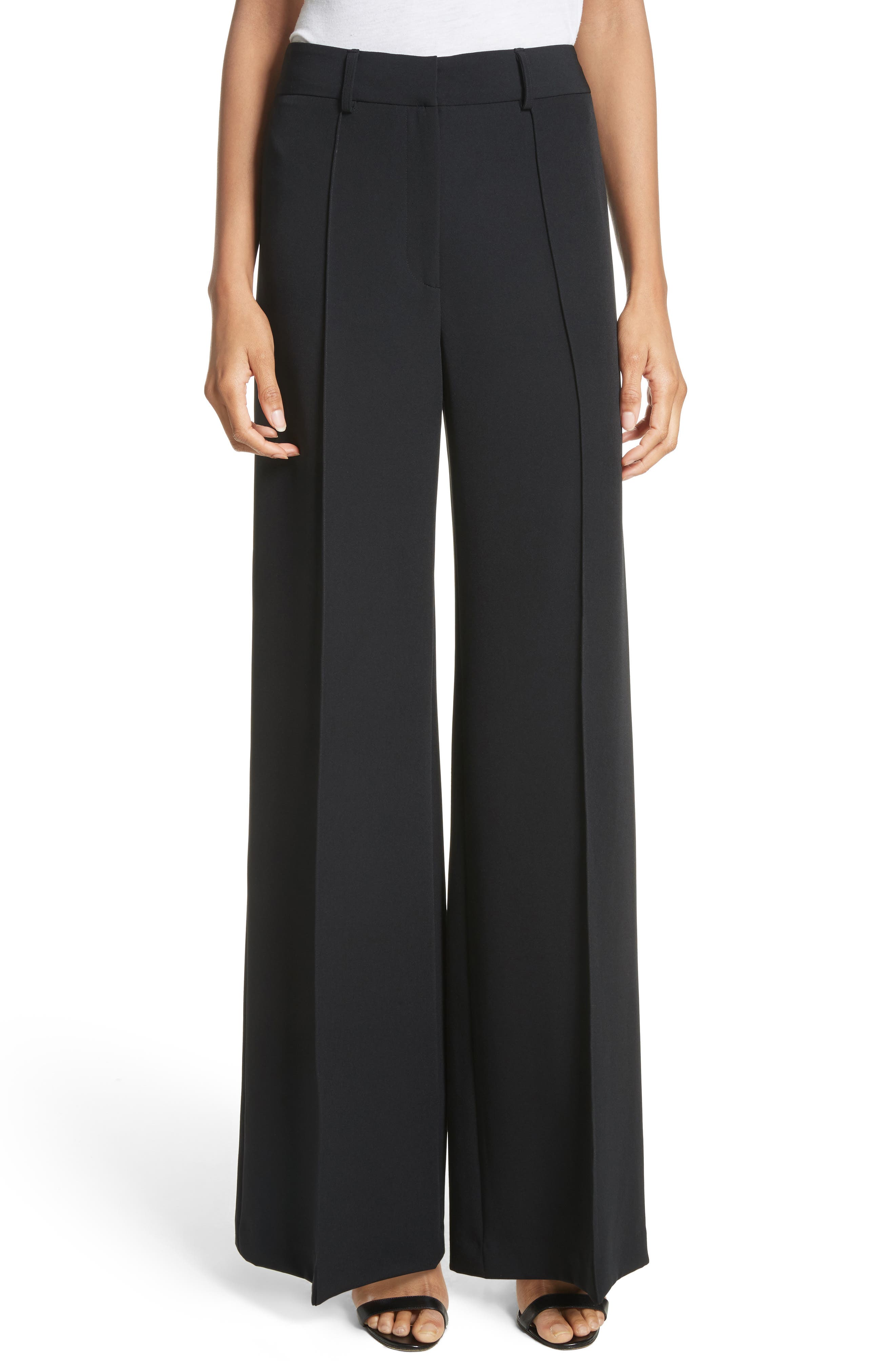 'Hayden' Wide Leg Trousers,                             Main thumbnail 1, color,                             Black