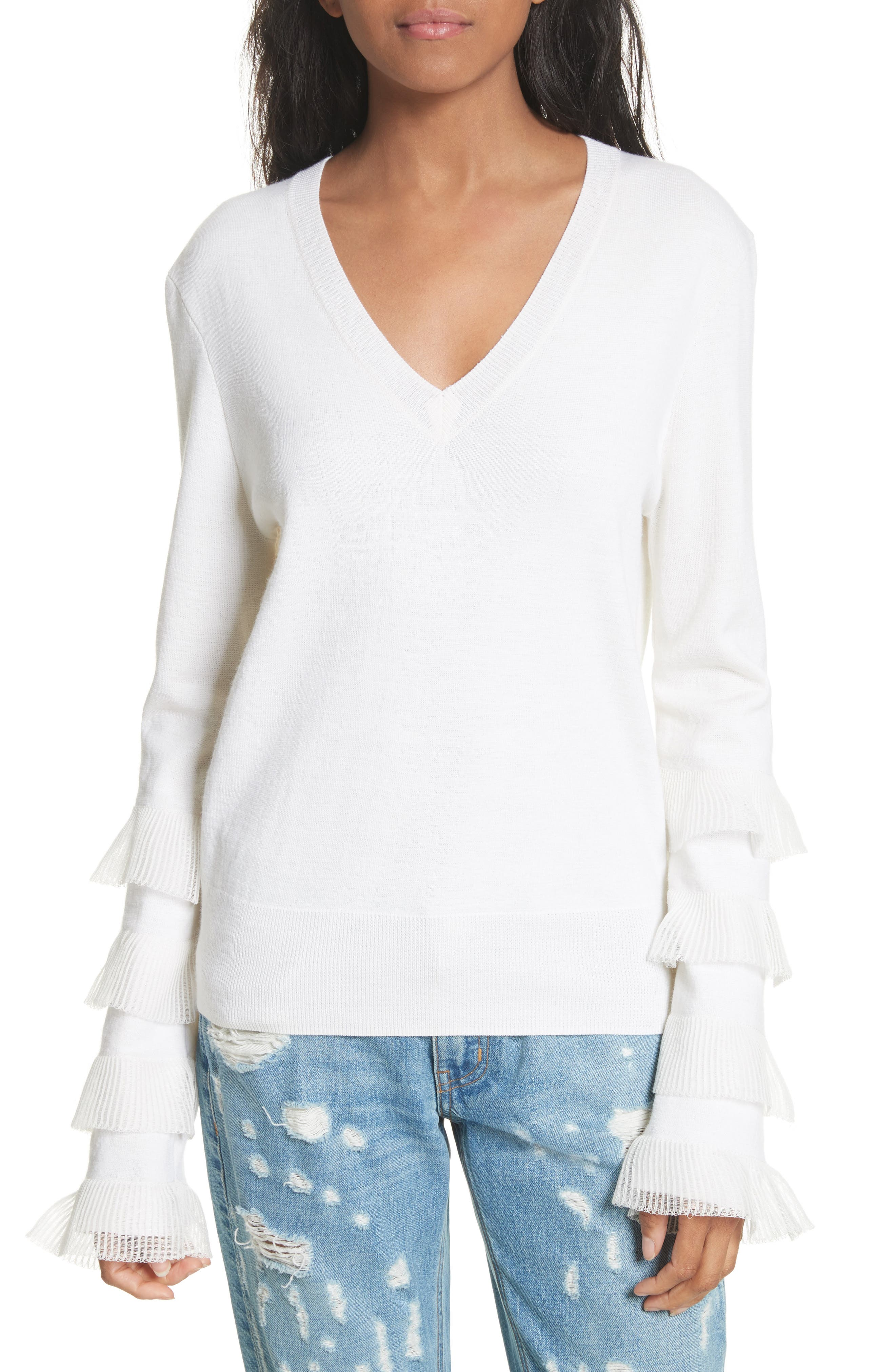 Tiered Ruffle Sleeve Sweater,                             Main thumbnail 1, color,                             White