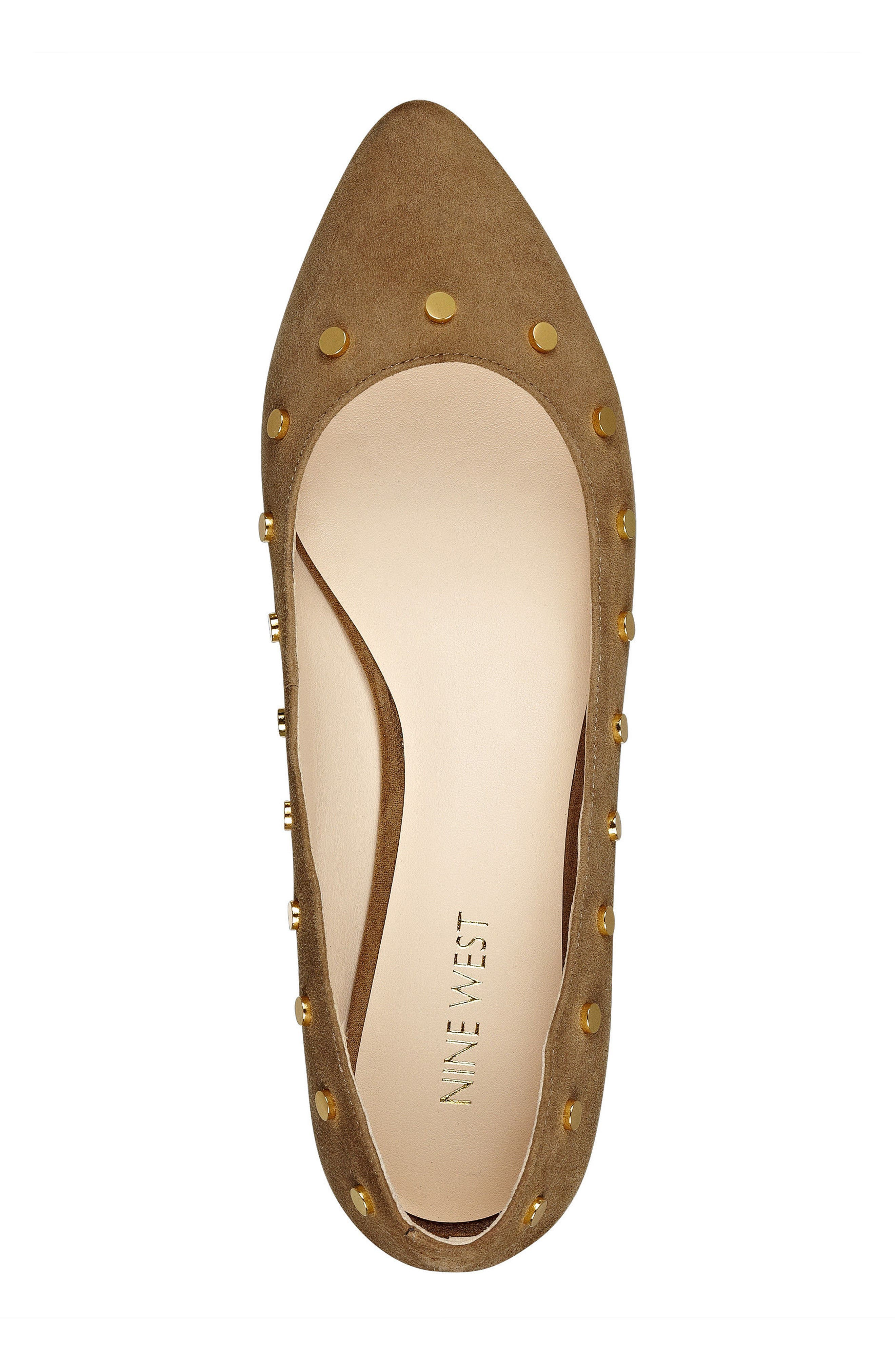 Sigismonda Studded Flat,                             Alternate thumbnail 5, color,                             Green Suede