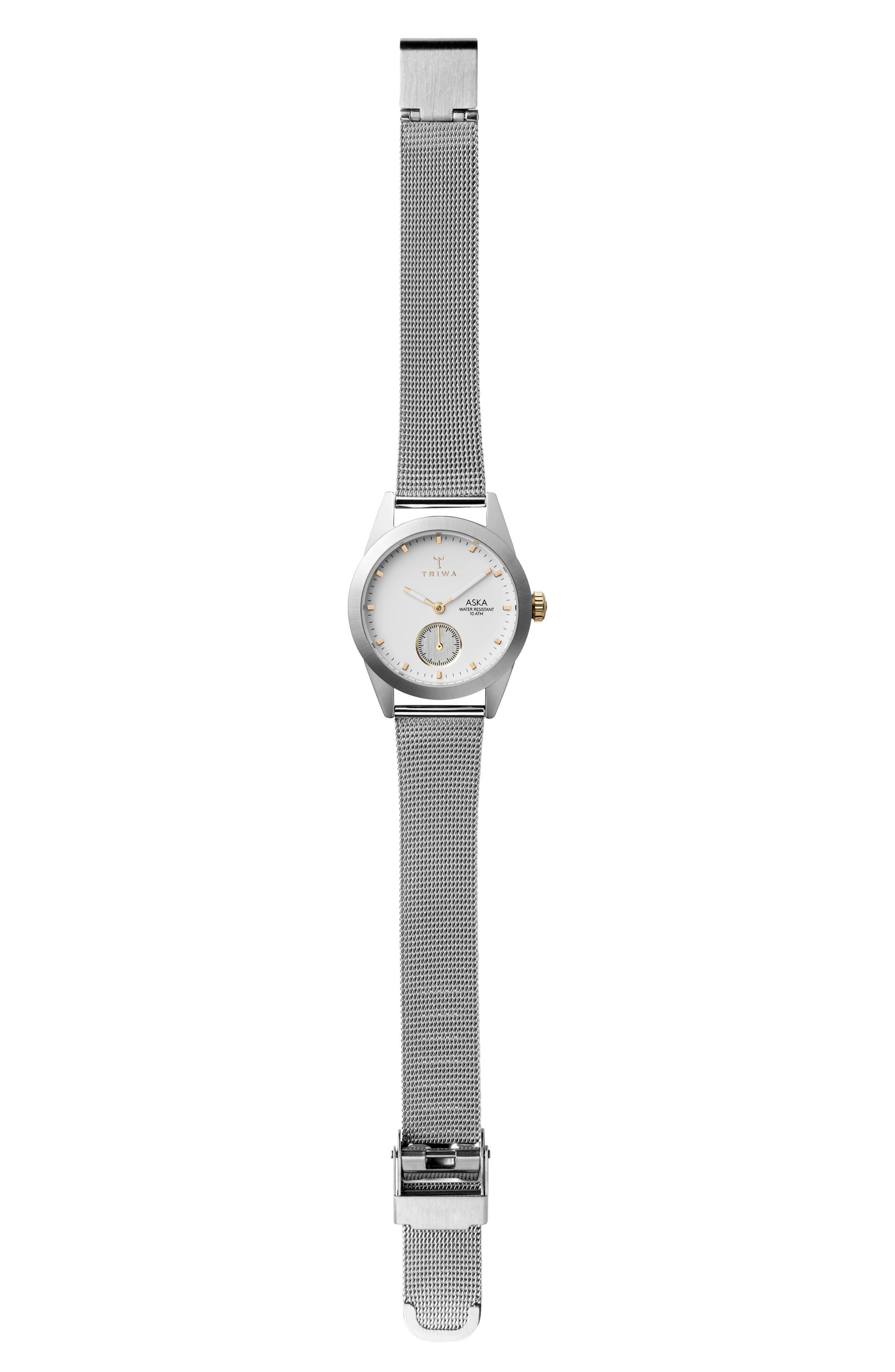 Snow Aska Mesh Strap Watch, 32mm,                             Alternate thumbnail 3, color,                             Silver/ White/ Silver