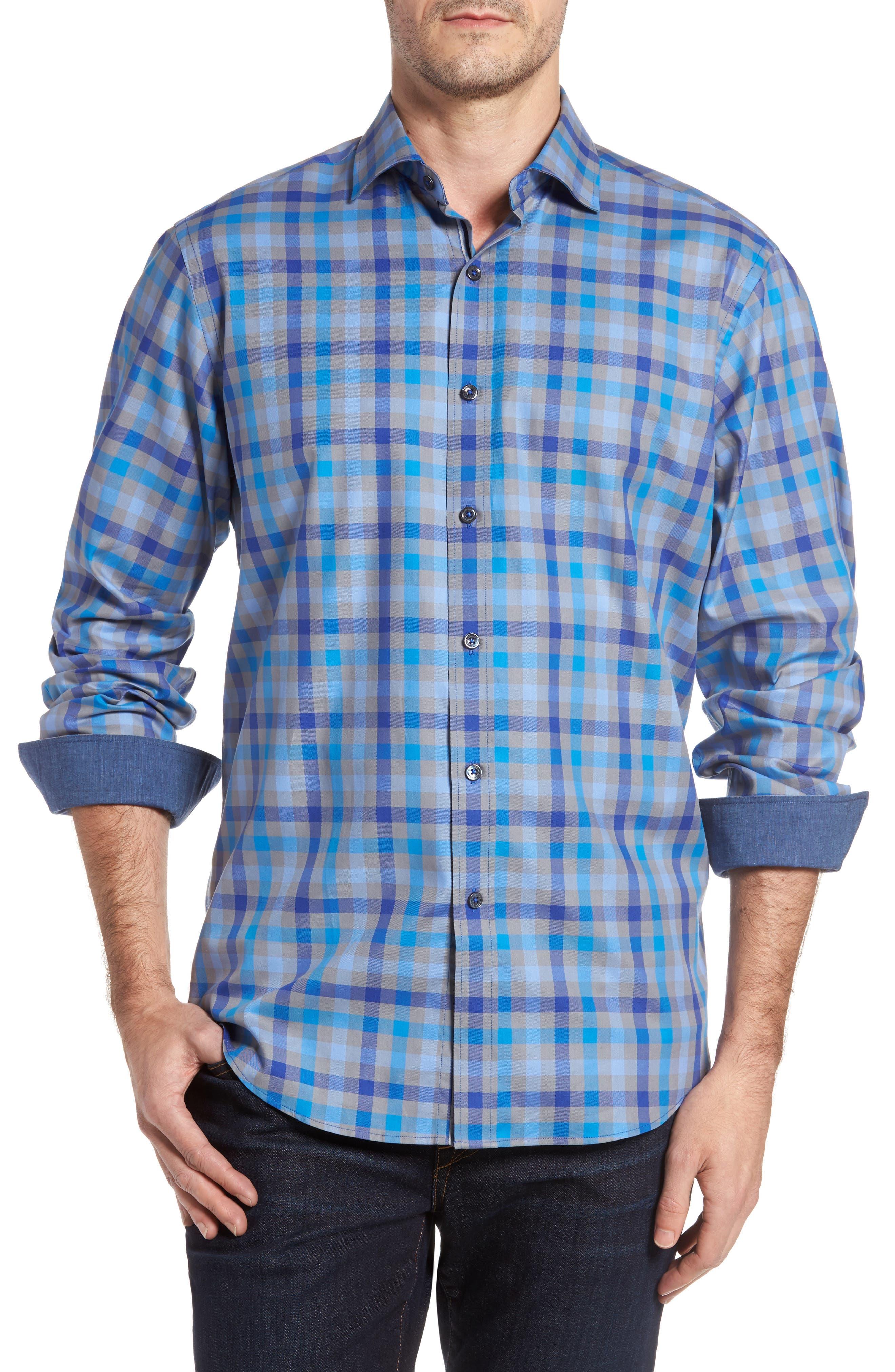 Classic Fit Check Sport Shirt,                         Main,                         color, Platinum
