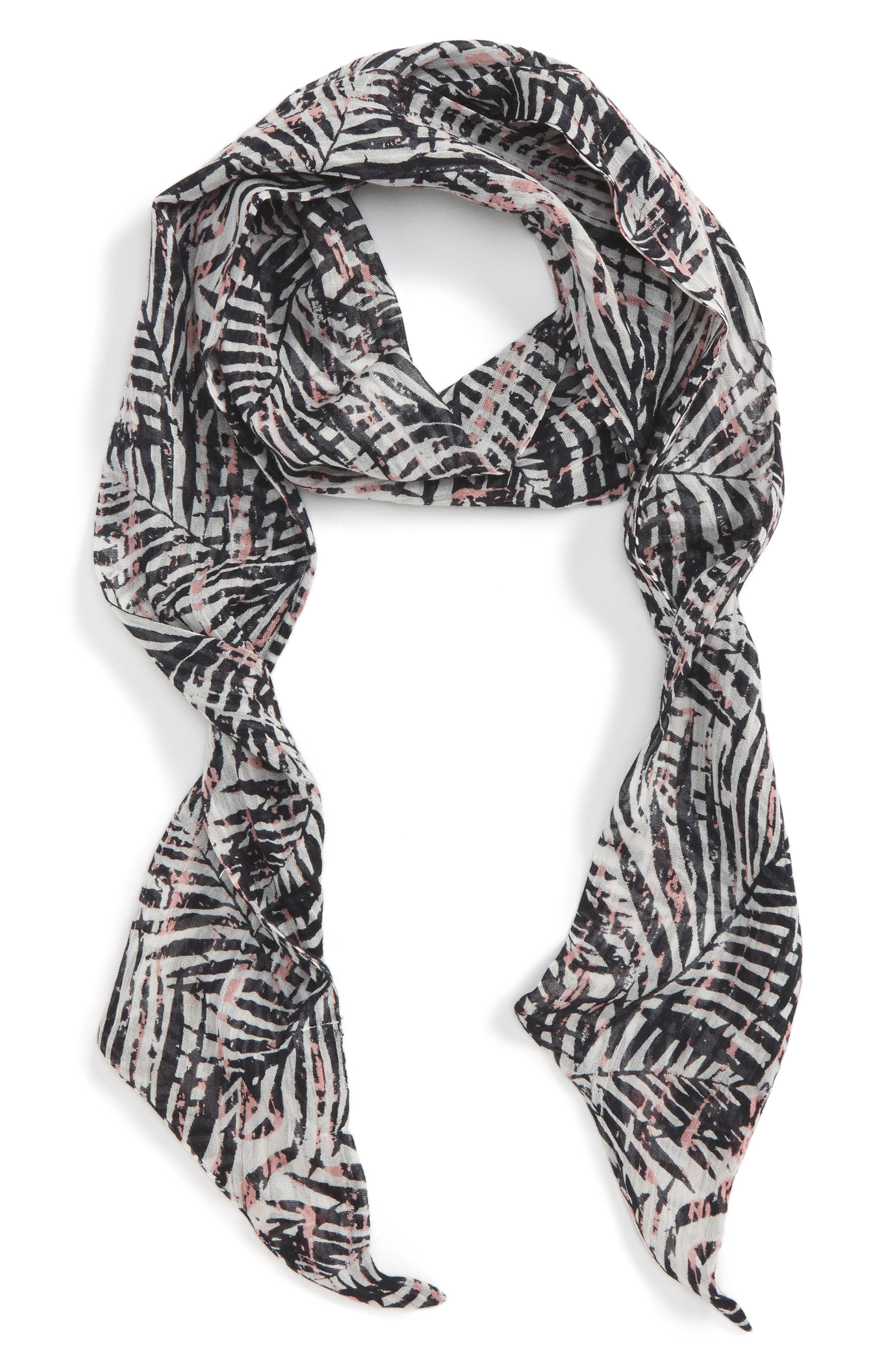 SOLE SOCIETY Graphic Palm Skinny Scarf