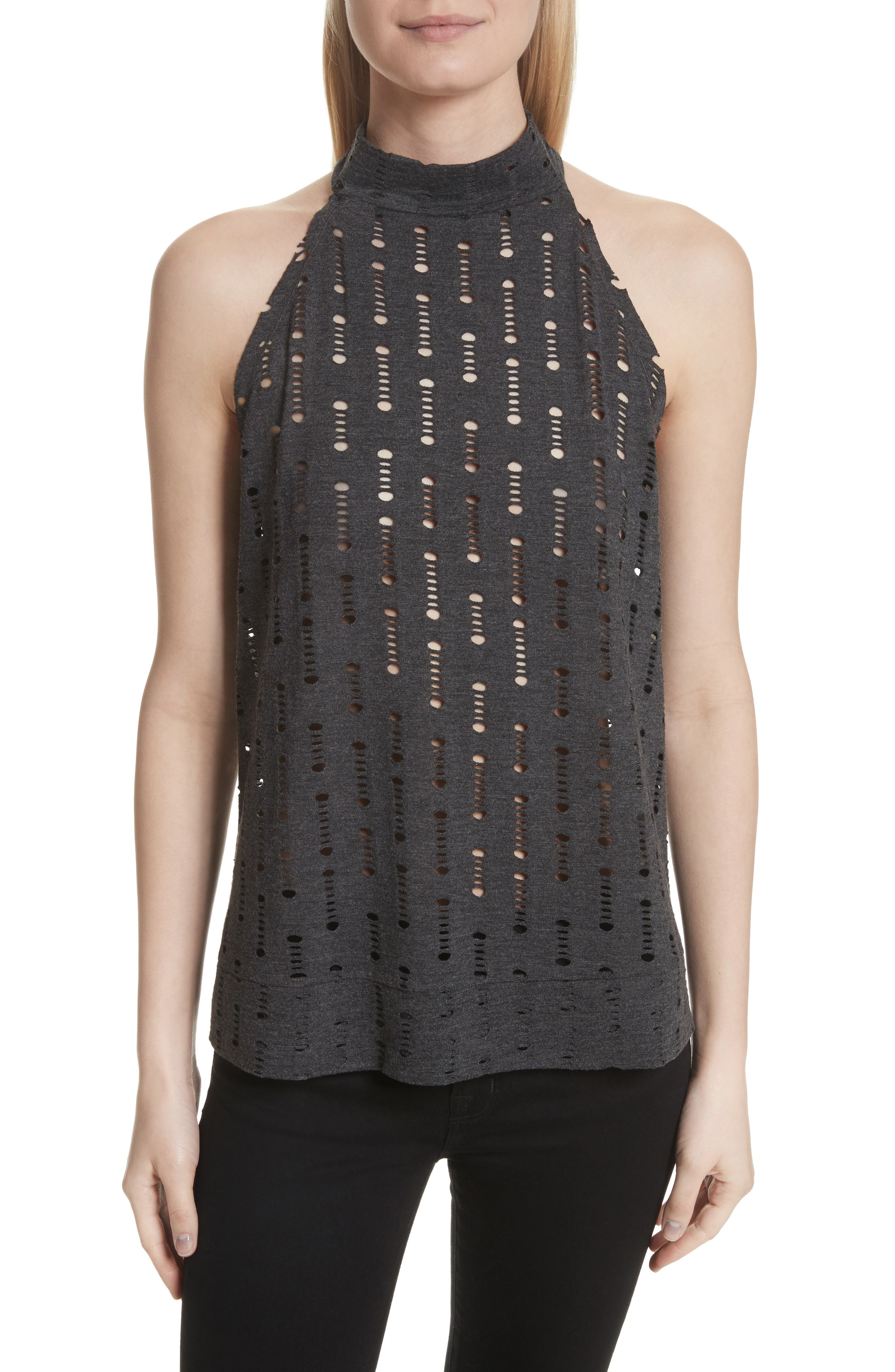 Perforated Halter Top,                         Main,                         color, Black