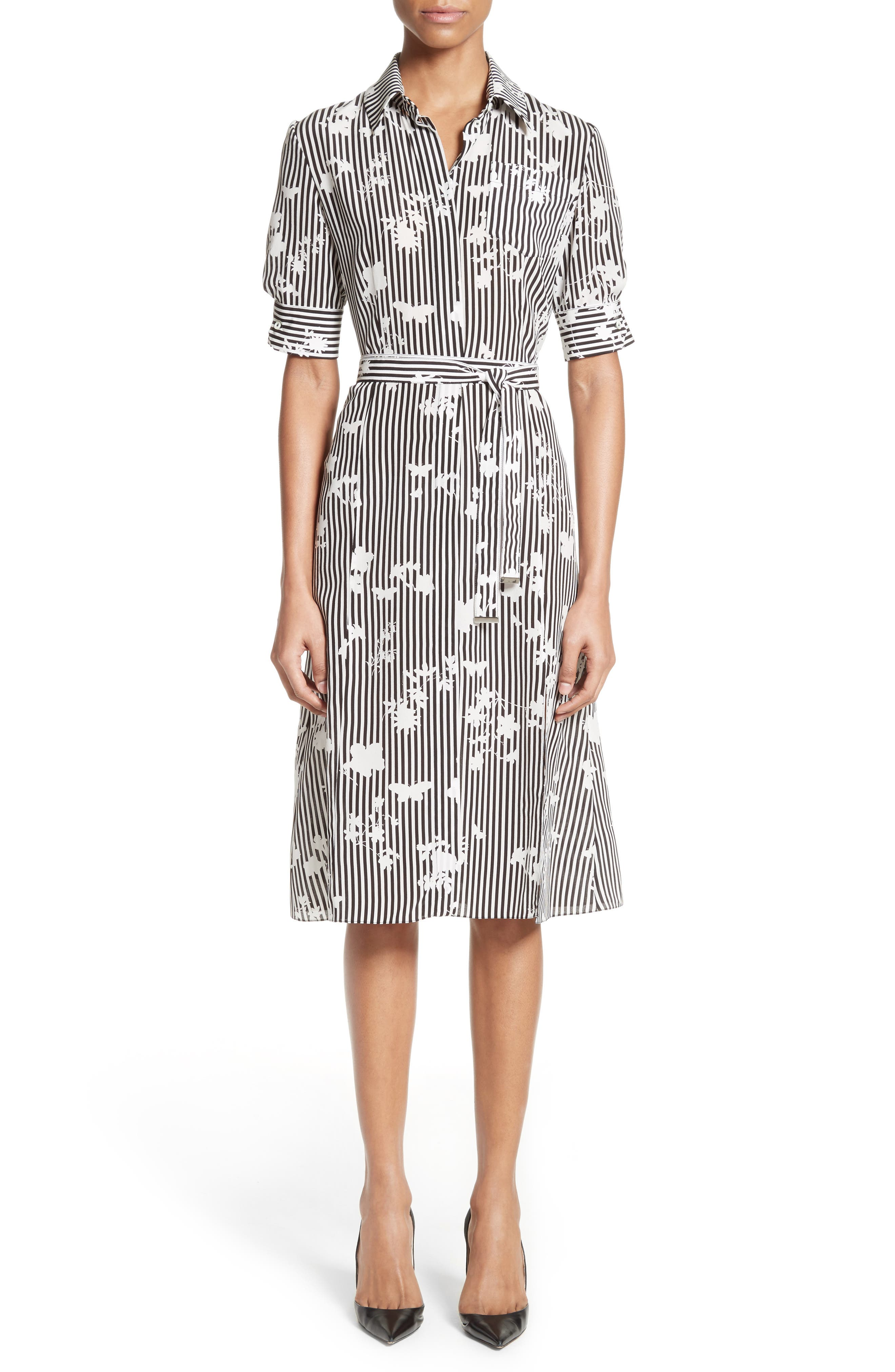 Altuzarra Floral Stripe Silk Shirtdress