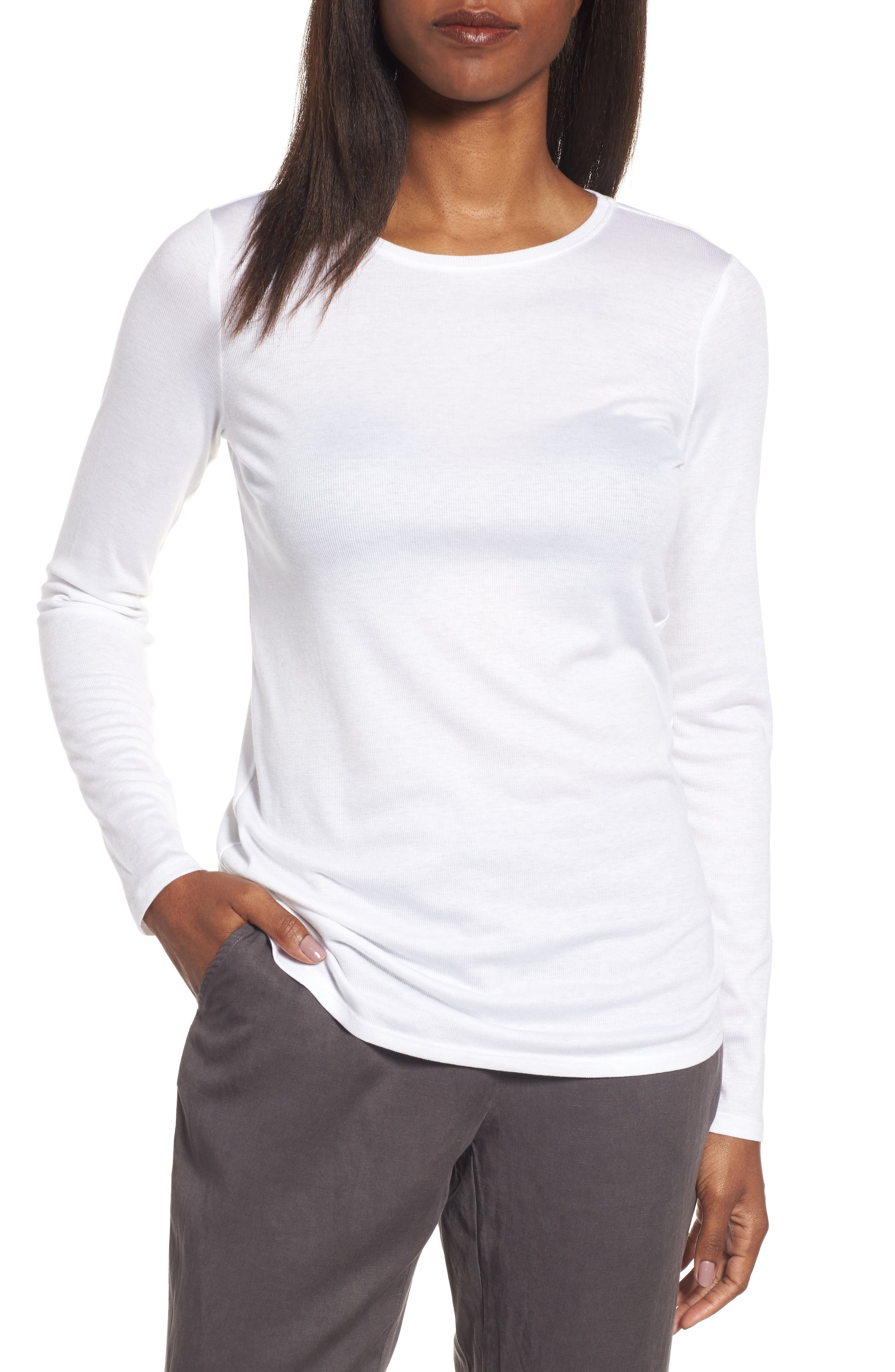Eileen Fisher Slim Crewneck Tee