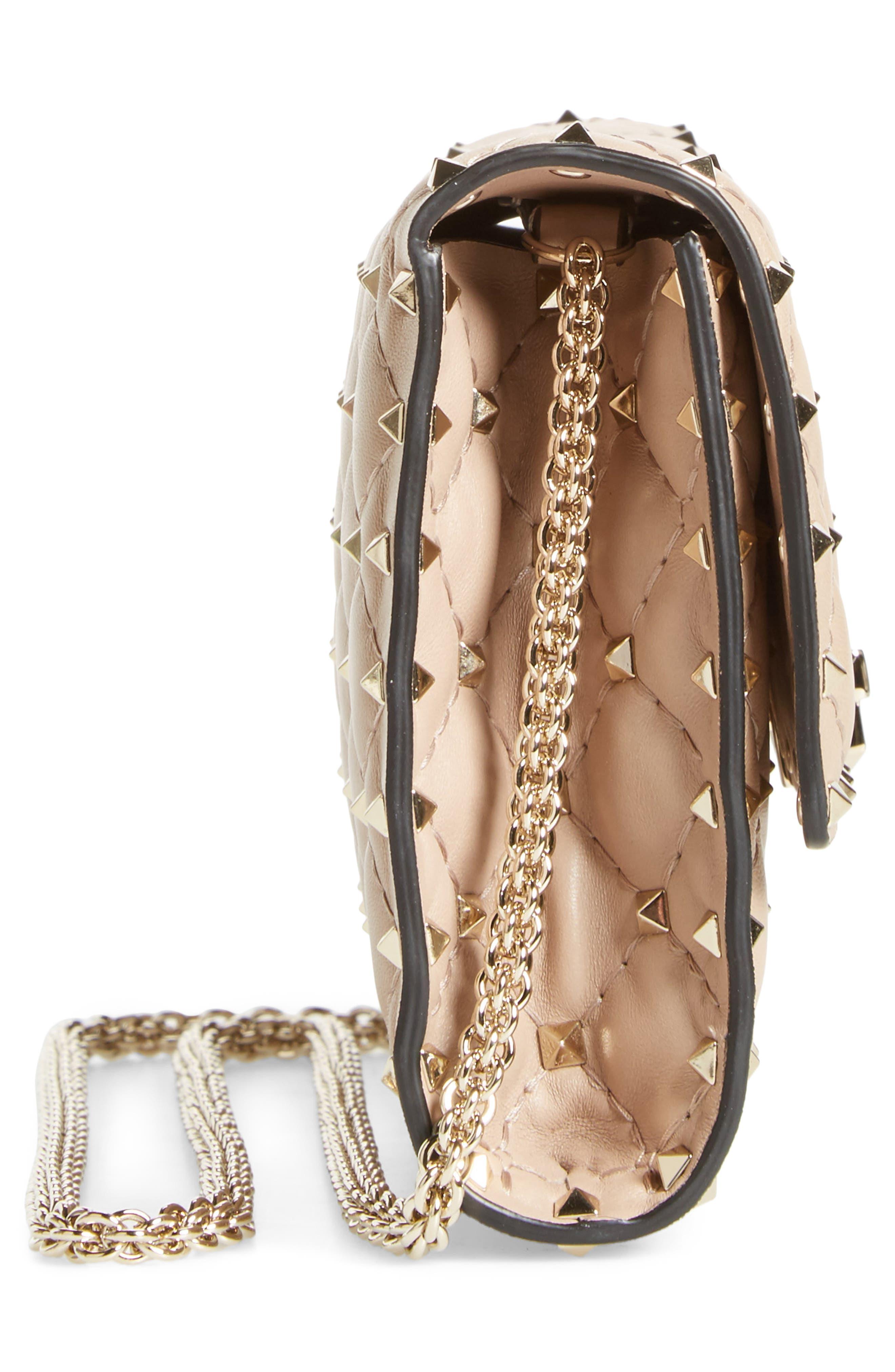 Alternate Image 4  - VALENTINO GARAVANI Metelassé Rockstud Spike Leather Wallet on a Chain