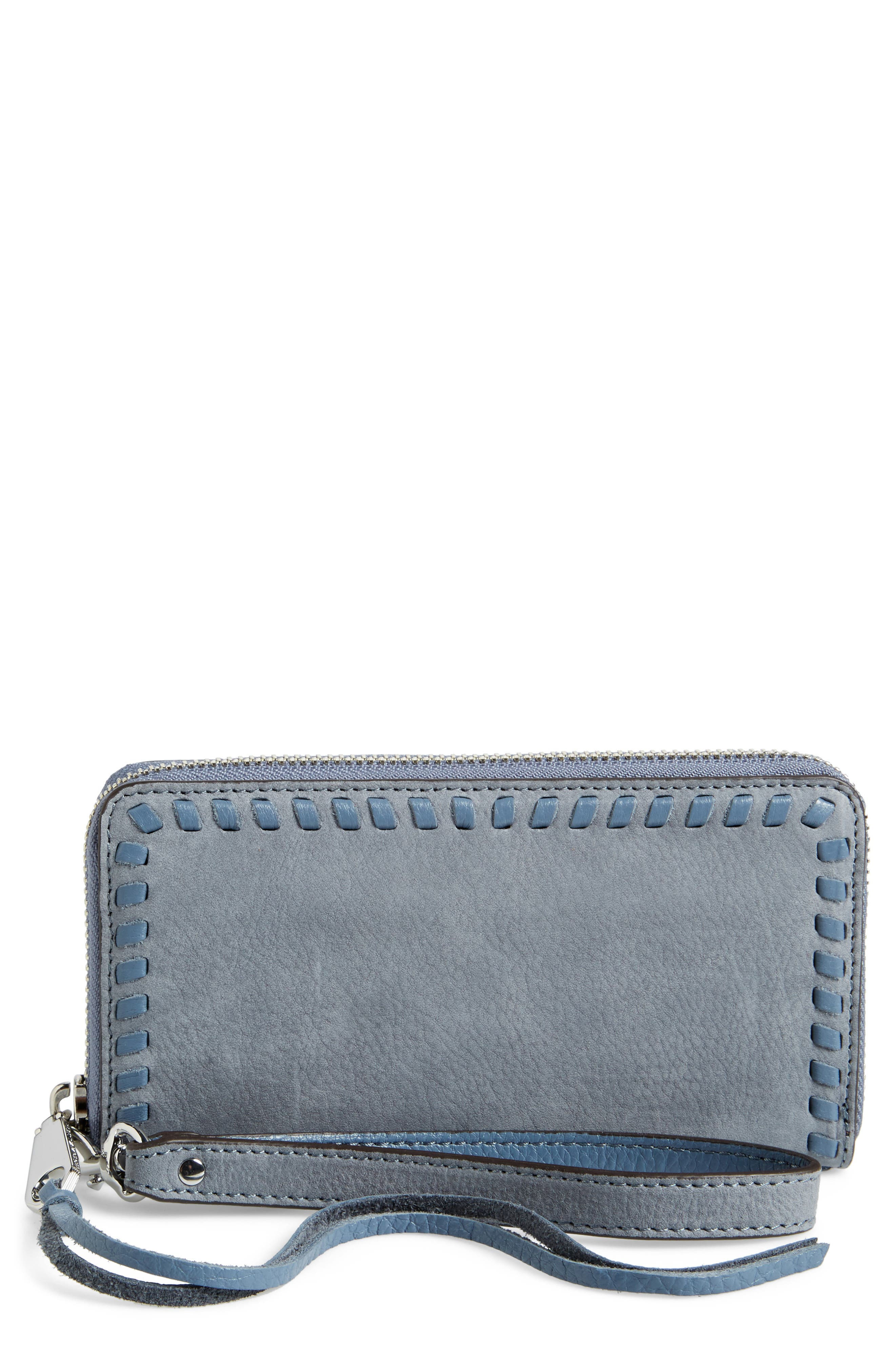 Vanity Nubuck Leather Phone Wallet,                             Main thumbnail 1, color,                             Dusty Blue/ Silver Hardware