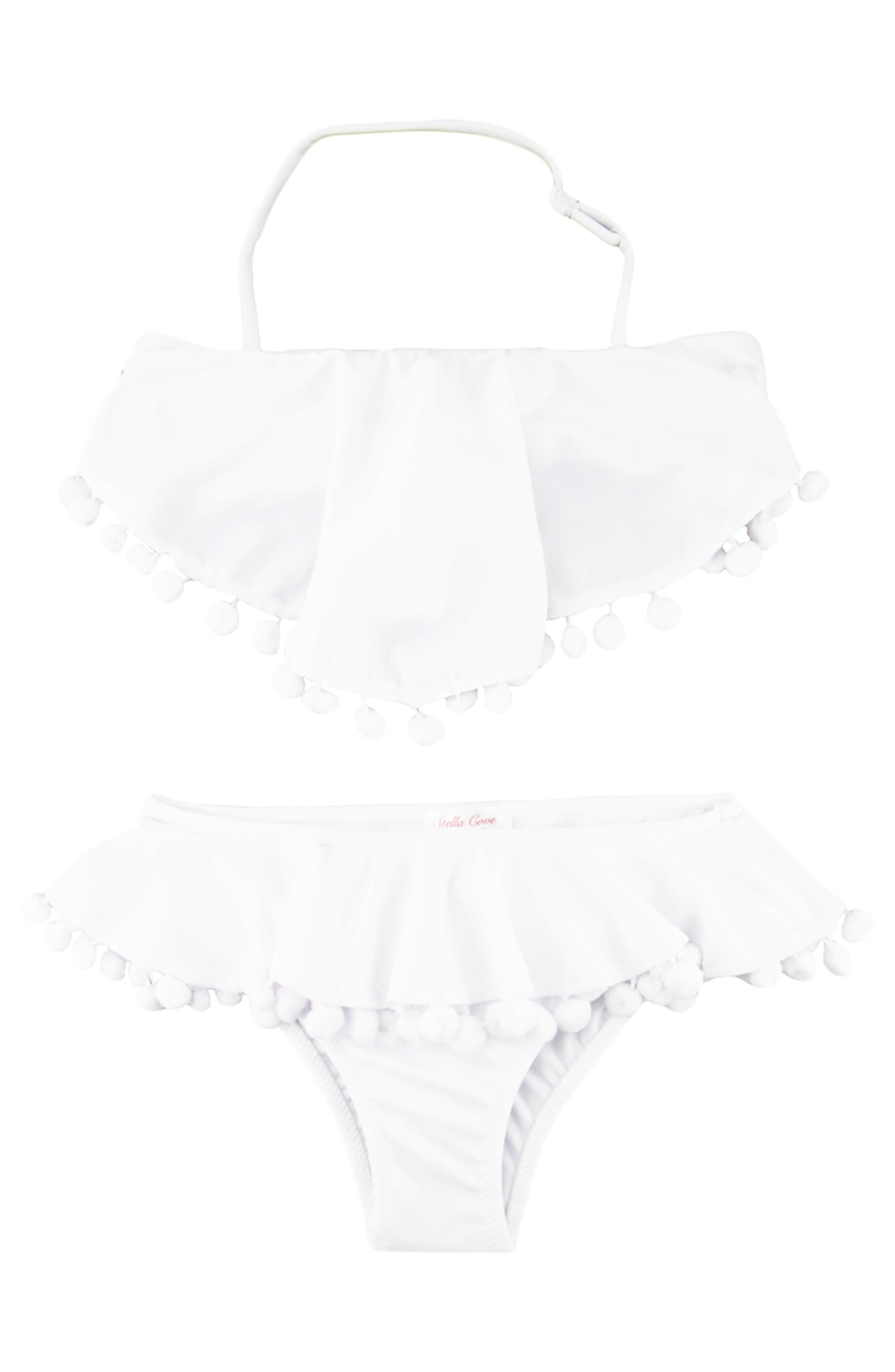 Pompom Ruffle Two-Piece Swimsuit,                         Main,                         color, White
